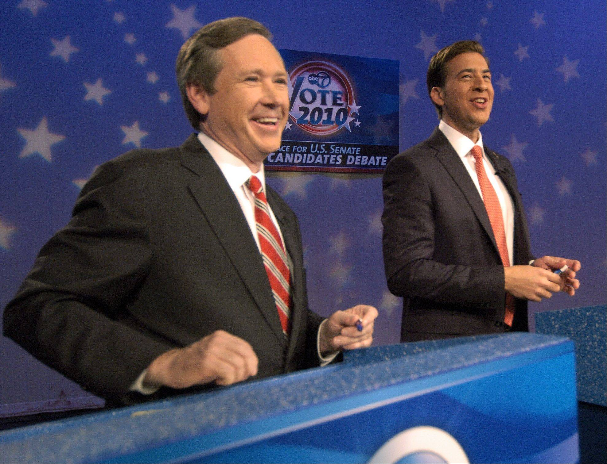 Republican Mark Kirk, left, and Democrat Alexi Giannoulias, candidates for the U.S. Senate, prepare for a debate at the WLS-7 studio, Chicago.