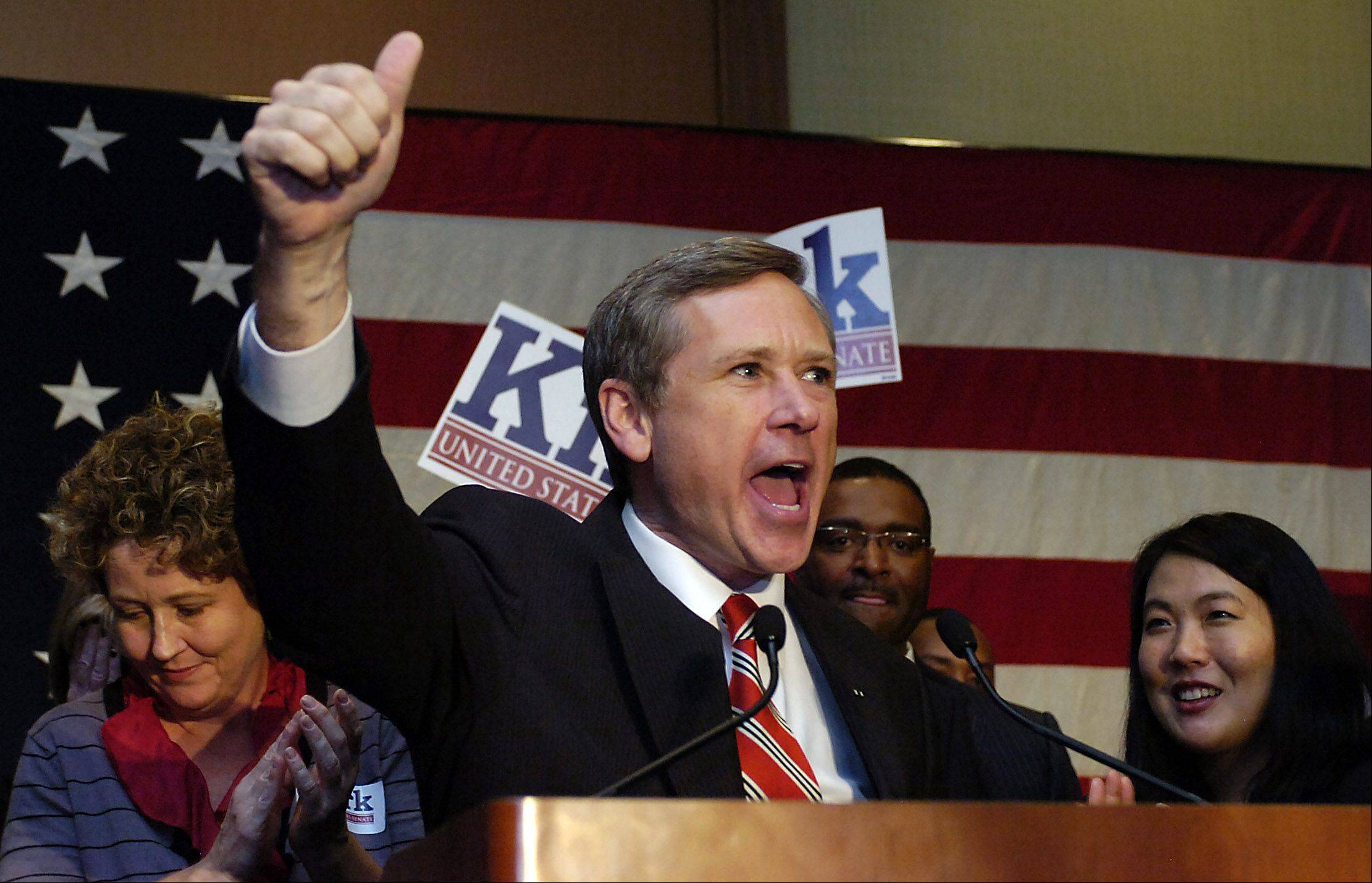 Senator Mark Kirk talks to his supporters.