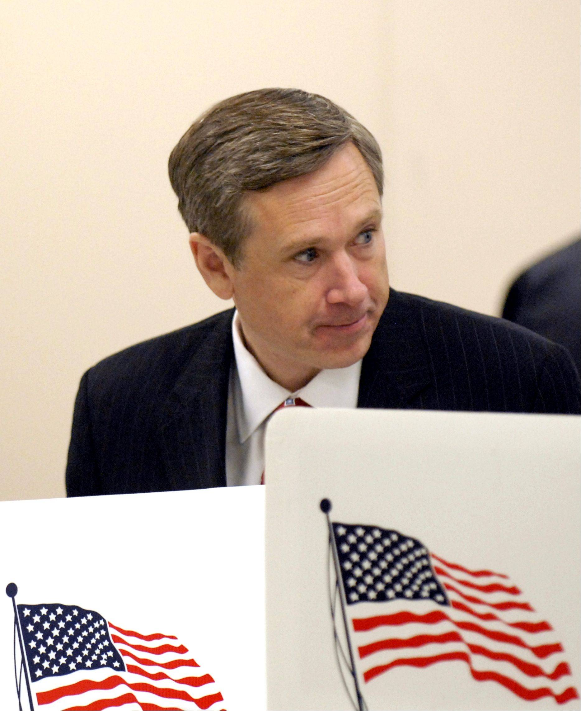 US Rep. Mark Kirk, R-Ill. votes at Highwood Community Center in Highwood, Ill., Tuesday, Nov. 2, 2010.