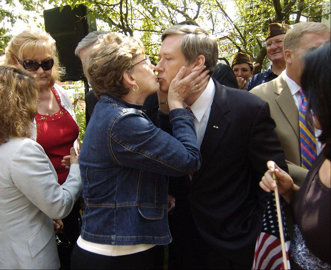Congressman Mark Kirk is congratulated by his mom, Judy Kirk after announcing he is running for the U.S Senate.