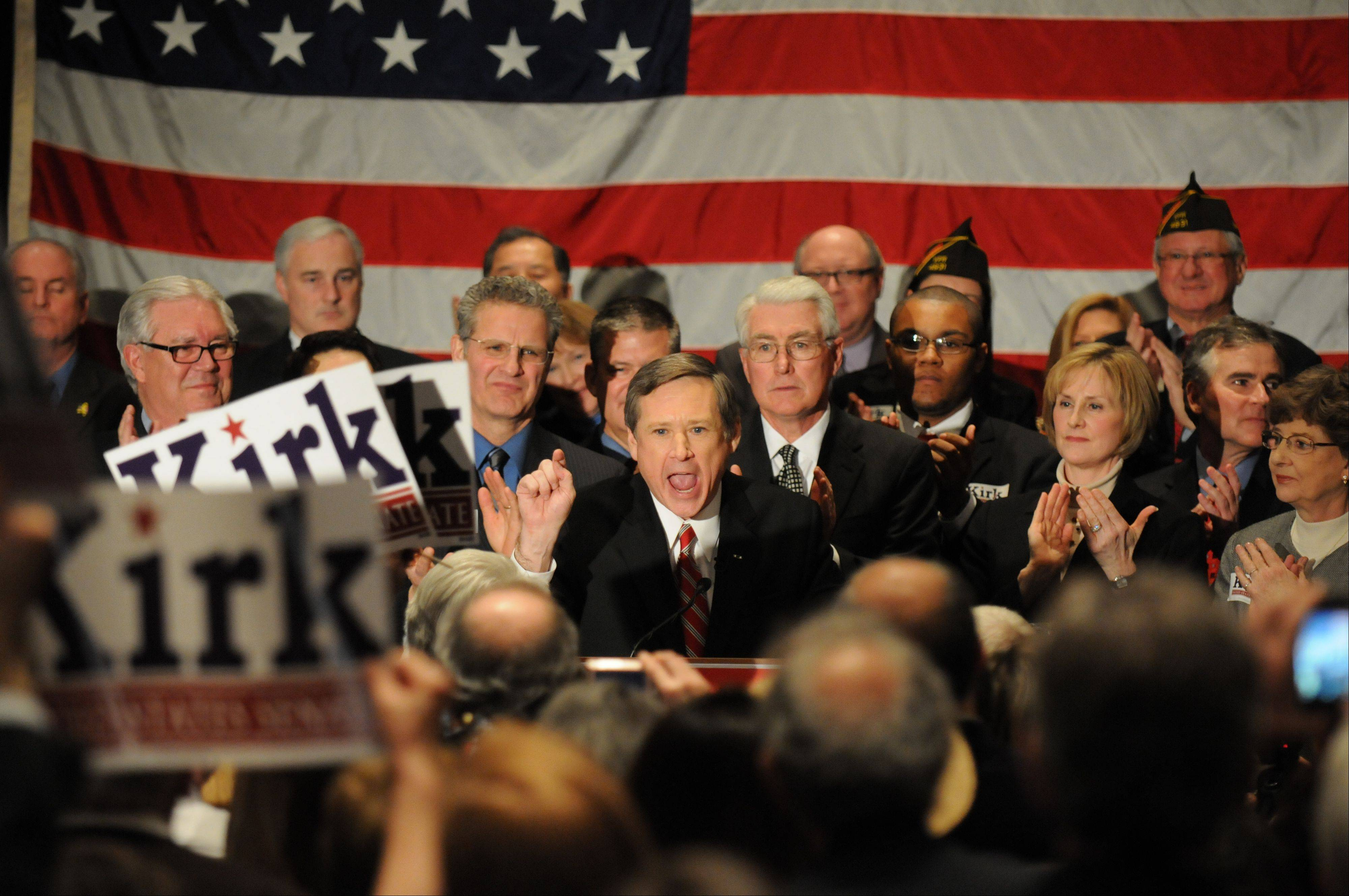 U.S. Congressman Mark Kirk greets the crowd in Wheeling, Ill. as he accepts the Republican nomination to run for the U.S. Senate seat, on Tuesday Feb. 2, 2010.