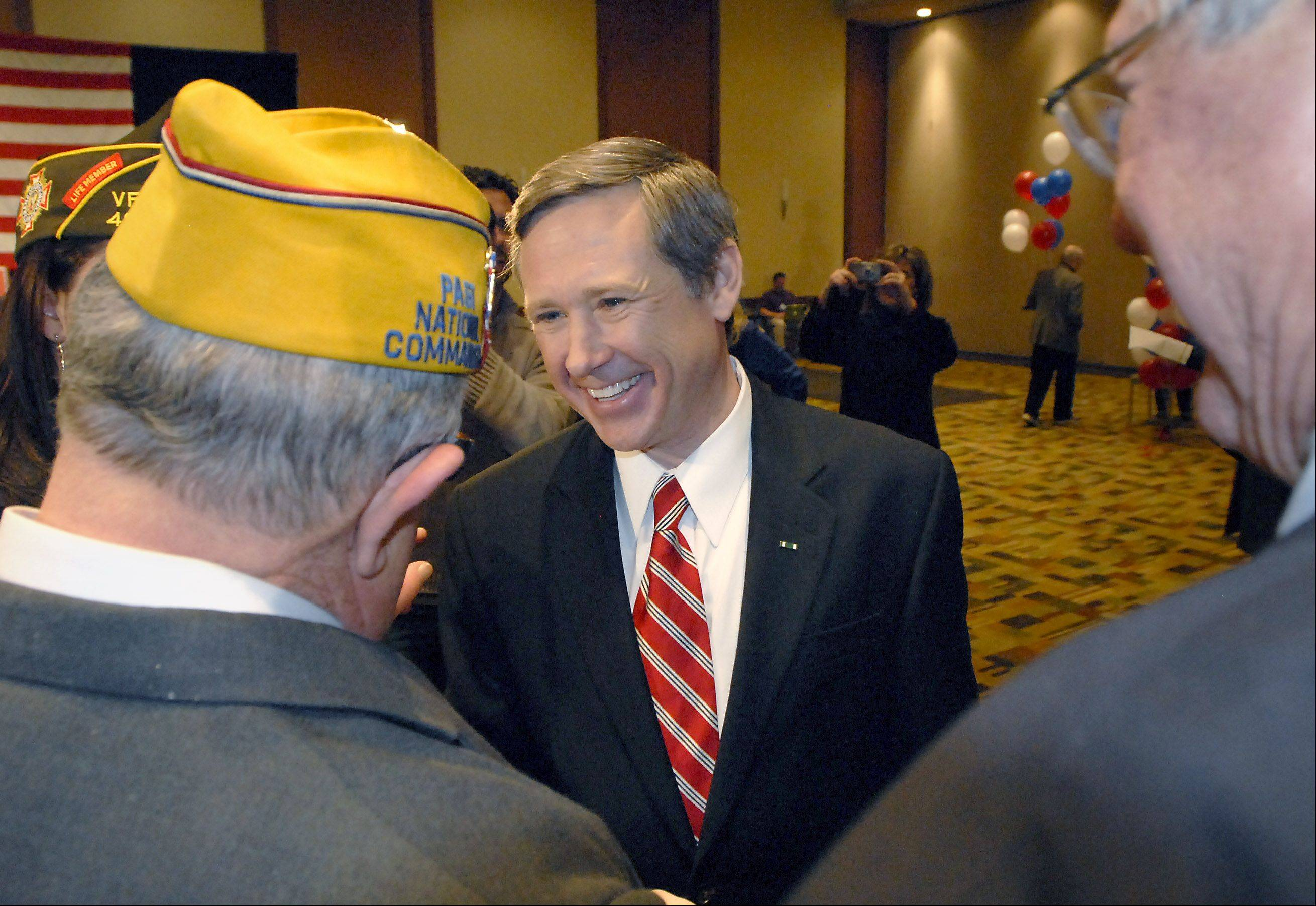 Mark Kirk, candidate for U.S. Senate, thanks veterans for their support after his victory party at the Westin in Wheeling.