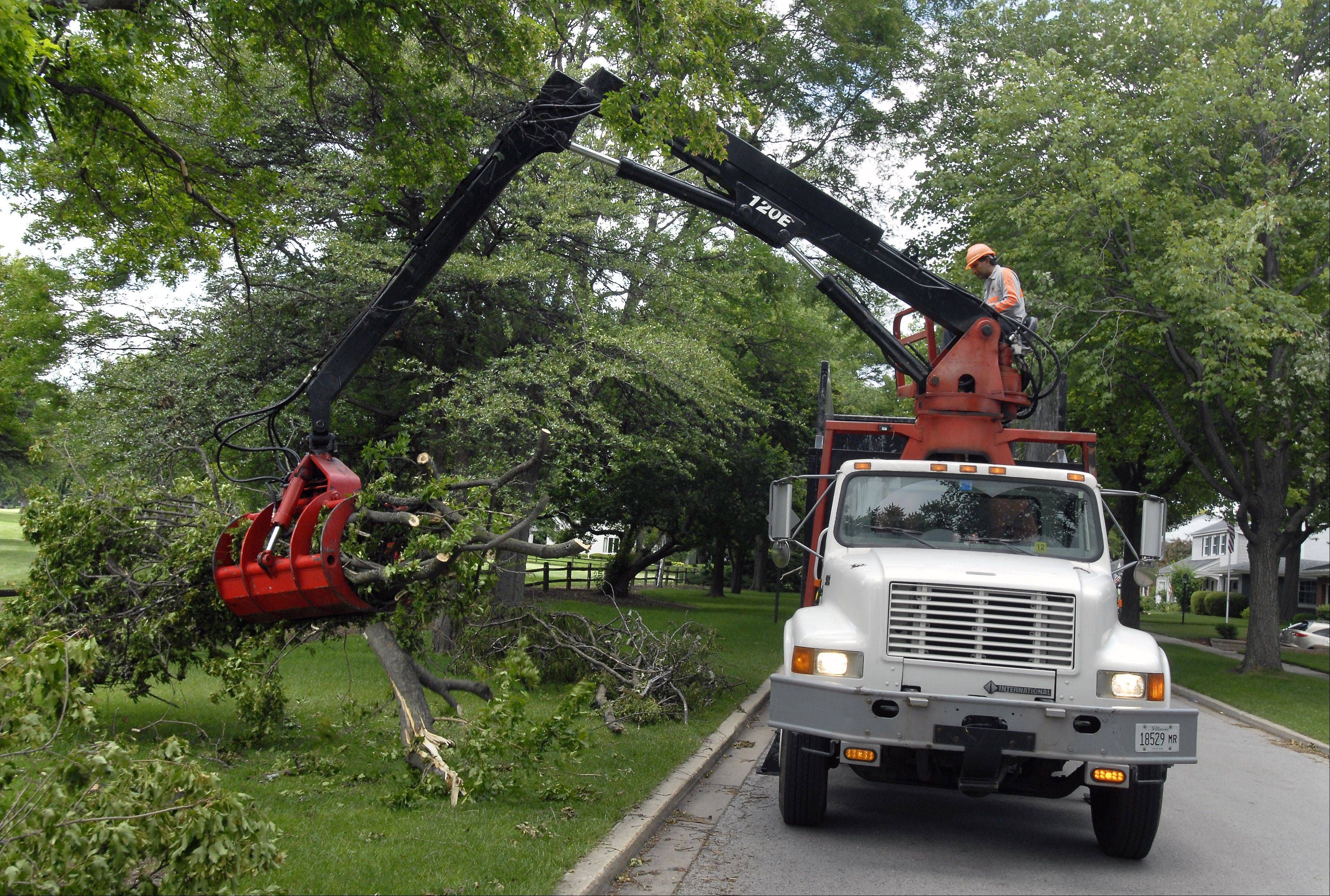 Workers for a forestry firm hired by Mount Prospect pick up tree limbs and trunks on We Go Trail Avenue, debris left from a tornado in June 2011. Village officials say the cost of such work could increase under a stricter application of the state's prevailing wage law.