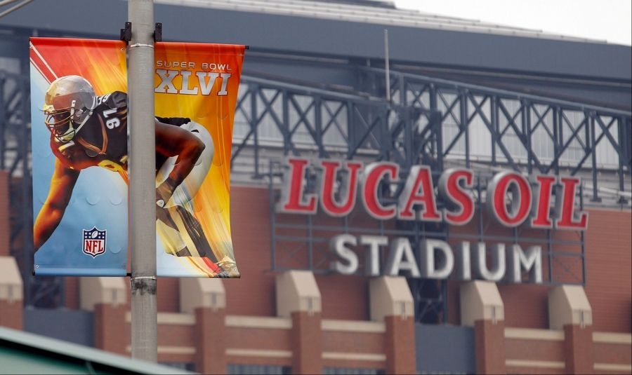 9f35e2b904f3a Banners hang on light poles Monday near Lucas Oil Stadium as preparations  continue for Super Bowl