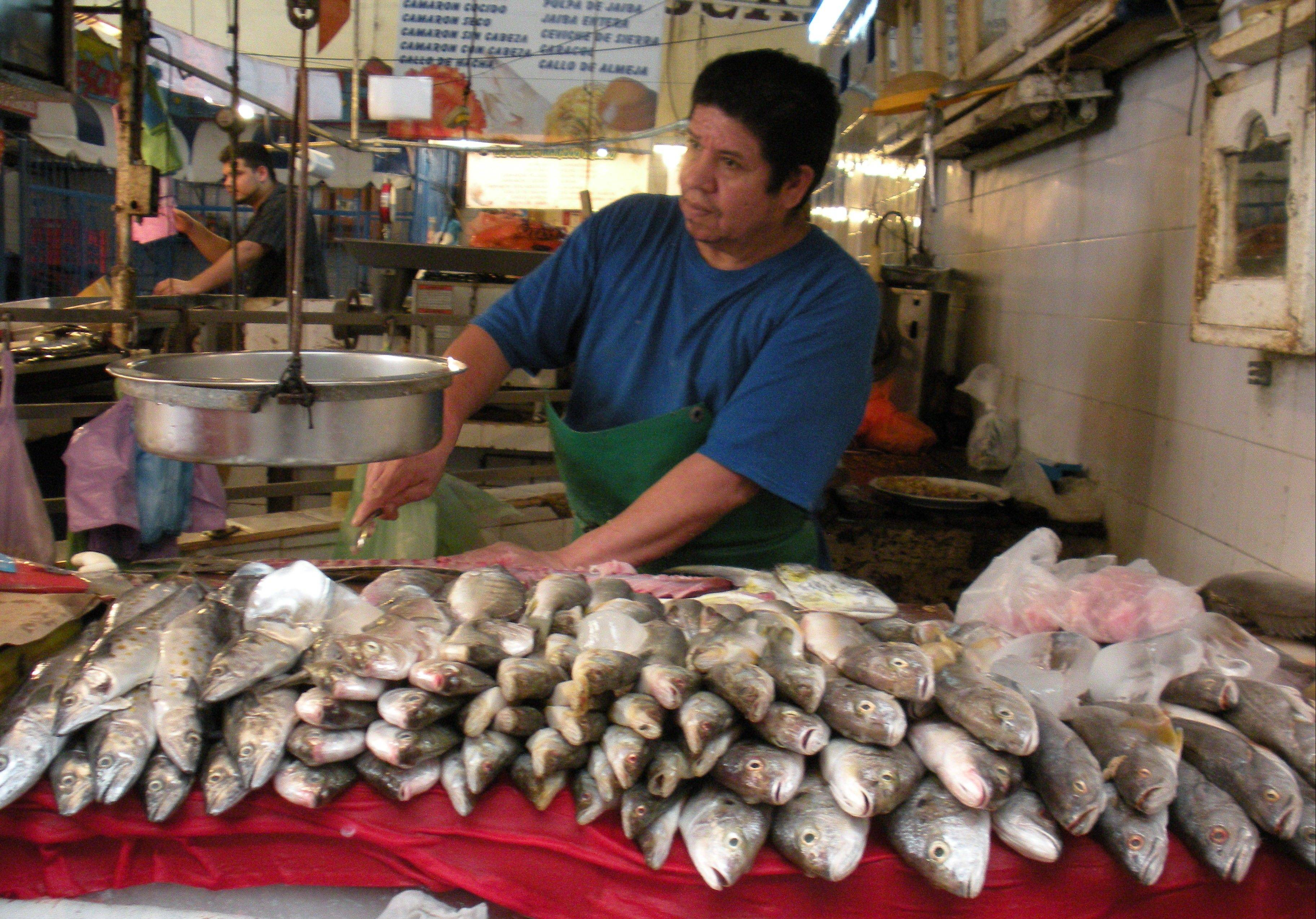 One of many fishmongers sells the morning's catch at the Pino Suarez Market in historic Old Mazatlan.