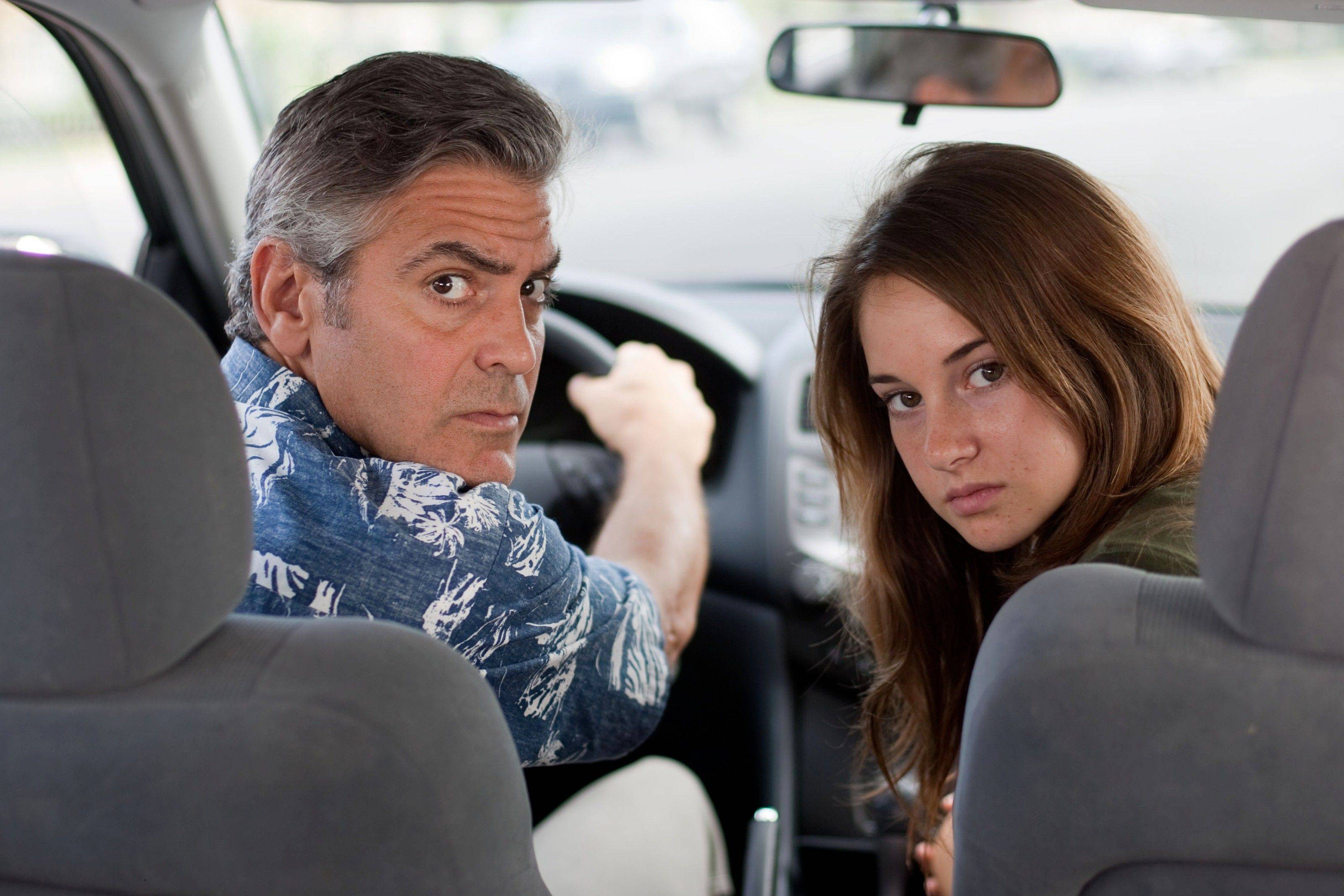 "In this image released by Fox Searchlight Films, George Clooney, left, and Shailene Woodley are shown in a scene from ""The Descendants."" The film was nominated Tuesday, Jan. 24, 2012 for an Oscar for best film."