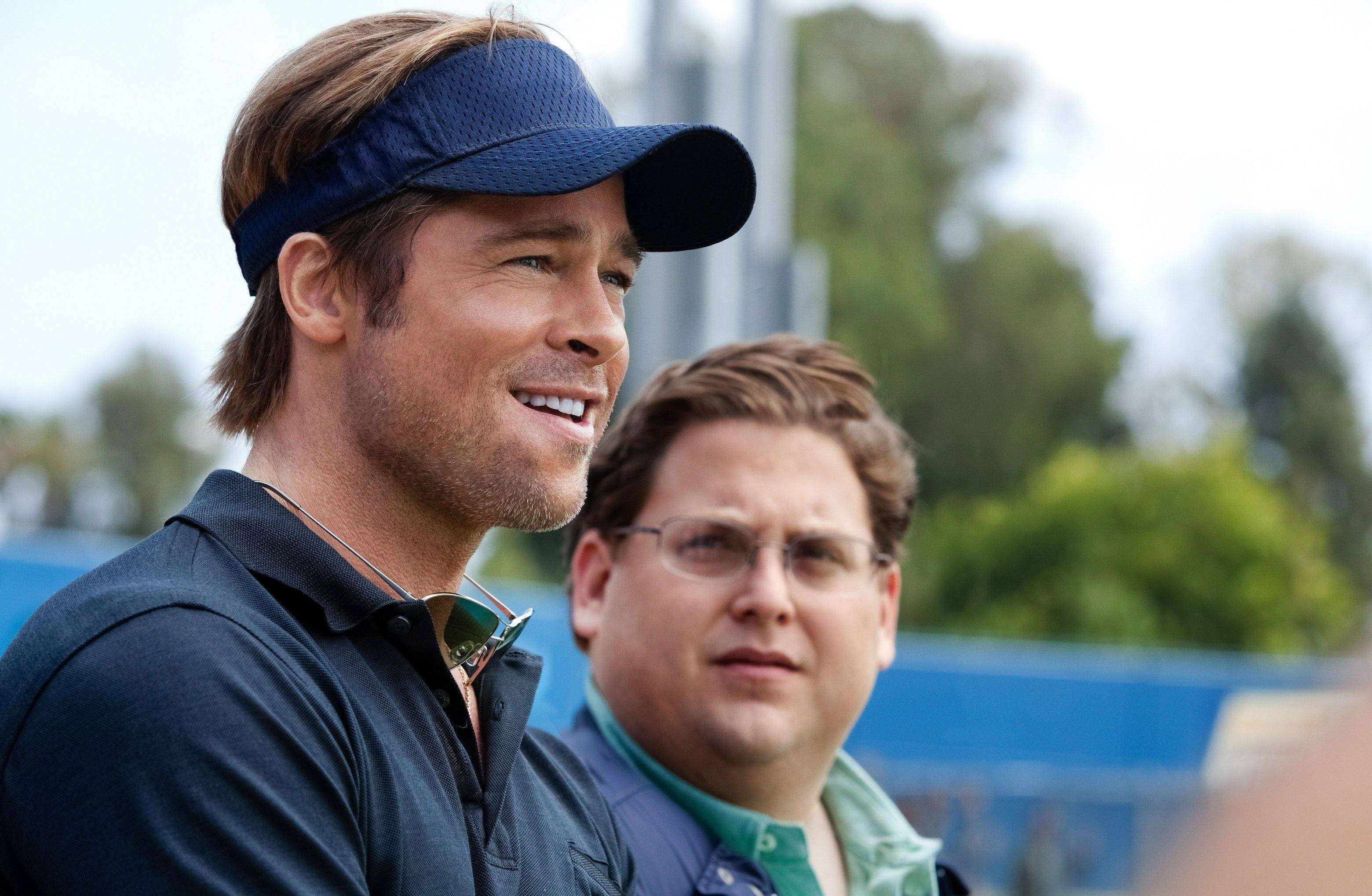 "In this image released by Sony Pictures, Brad Pitt, left, and Jonah Hill are shown in a scene from ""Moneyball."" The film was nominated Tuesday, Jan. 24, 2012 for an Oscar for best film. Pitt was also nominated for best actor and Hill was nominated for best supporting actor."