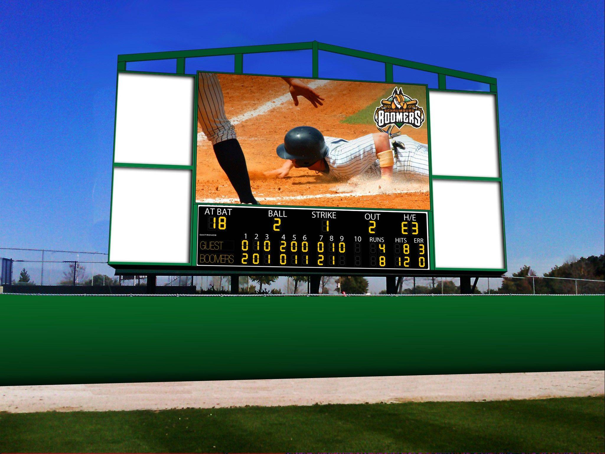 A rendering of the 450-square-foot videoboard the Schaumburg Boomers plan to install behind the left field wall of their stadium later this year. The new team is scheduled to begin playing at the Schaumburg ballpark in May.