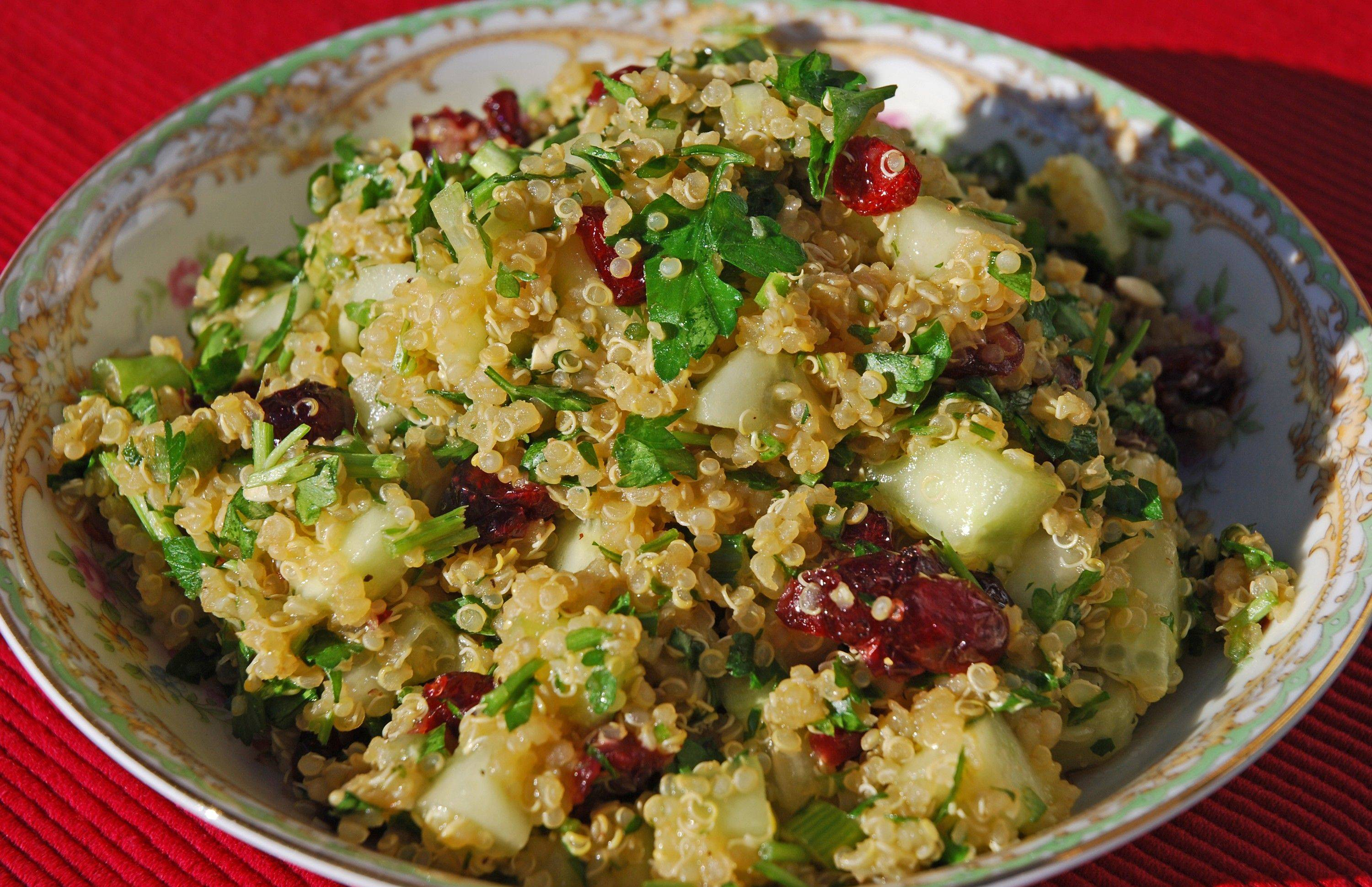 Quinoa, an ancient grain that is enjoying renewed popularity, contributes protein and a nutty-flavor to this tabbouleh-like salad.