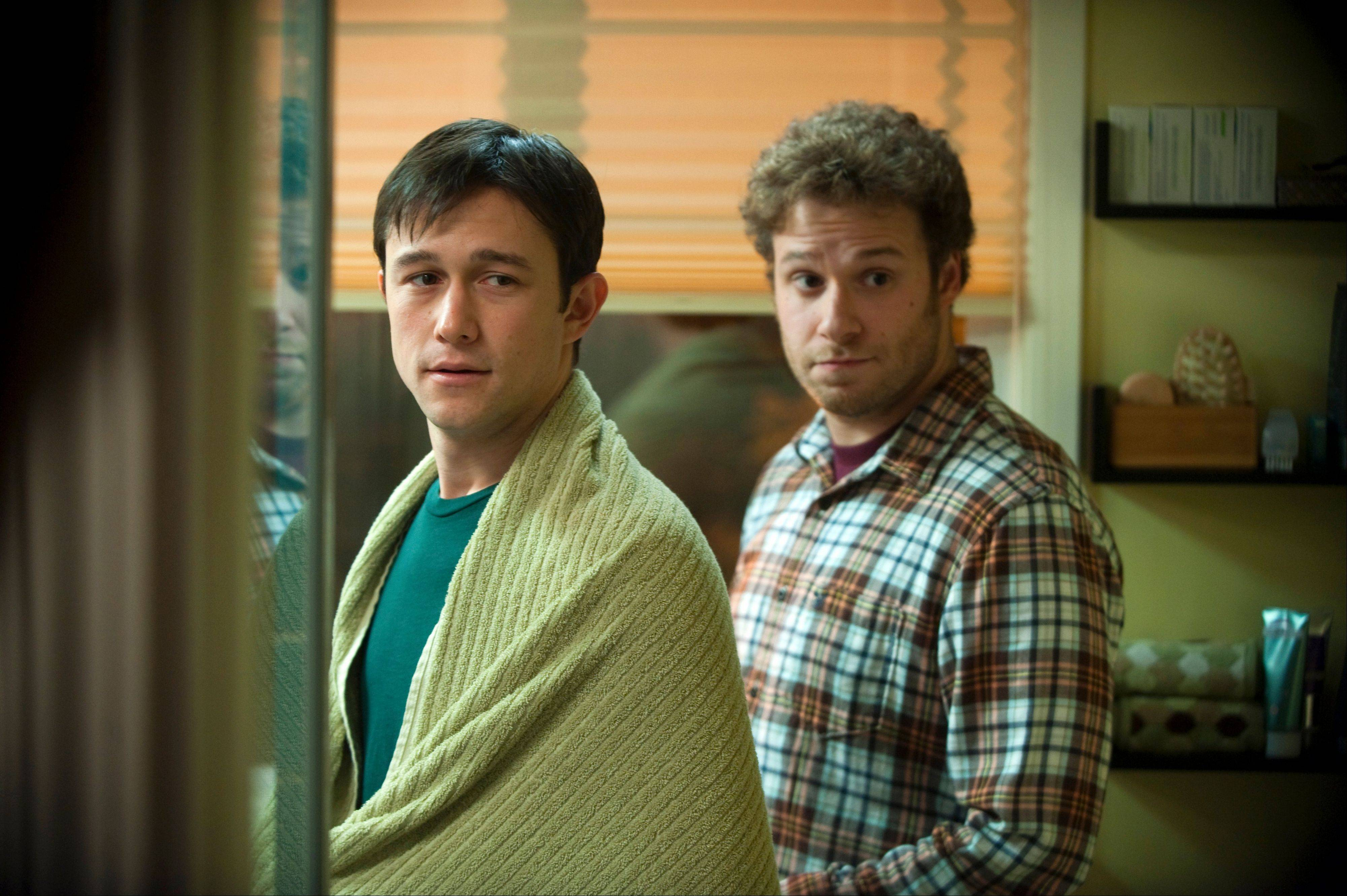 "Cancer patient Adam (Joseph Gordon-Levitt, left) deals with his diagnosis with support from his friend Kyle (Seth Rogen) in ""50/50,"" now on DVD."