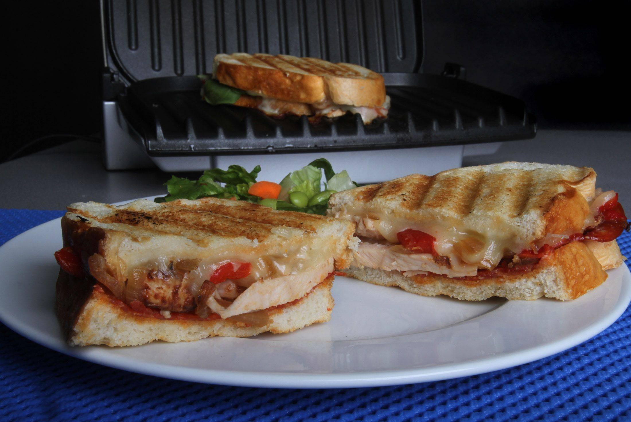A countertop grill works great for making Peppy Chicken Paninis, but you can use a panini press if you have one.