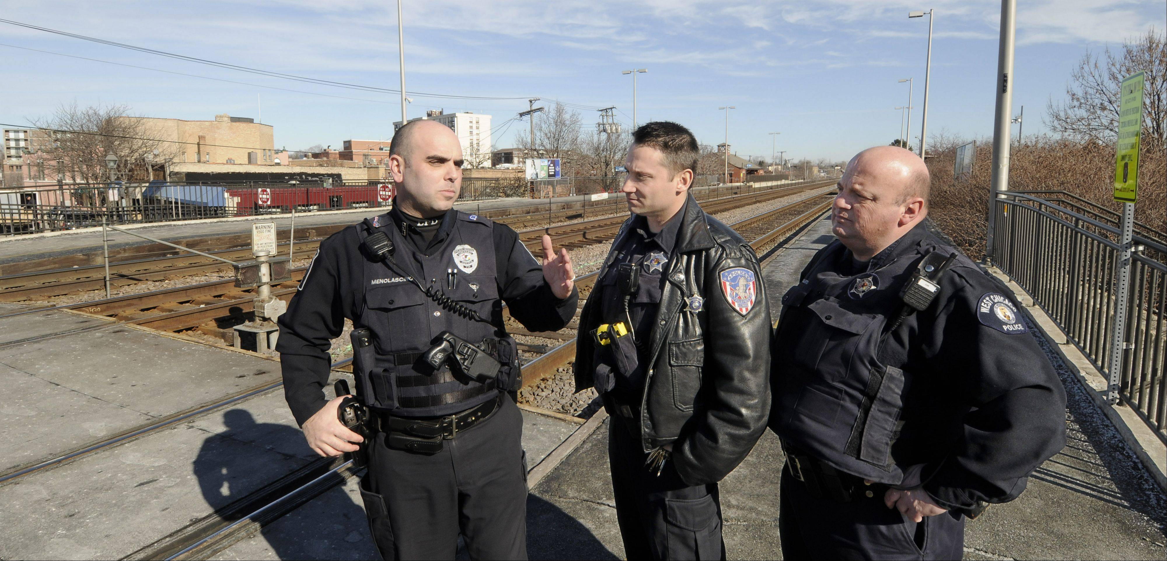 Police officers Joe Menolascino of Lombard, William Lyons of Villa Park and Anthony Quarto of West Chicago are leaders in railroad safety among departments recognized for working to keep the public safe near train tracks.