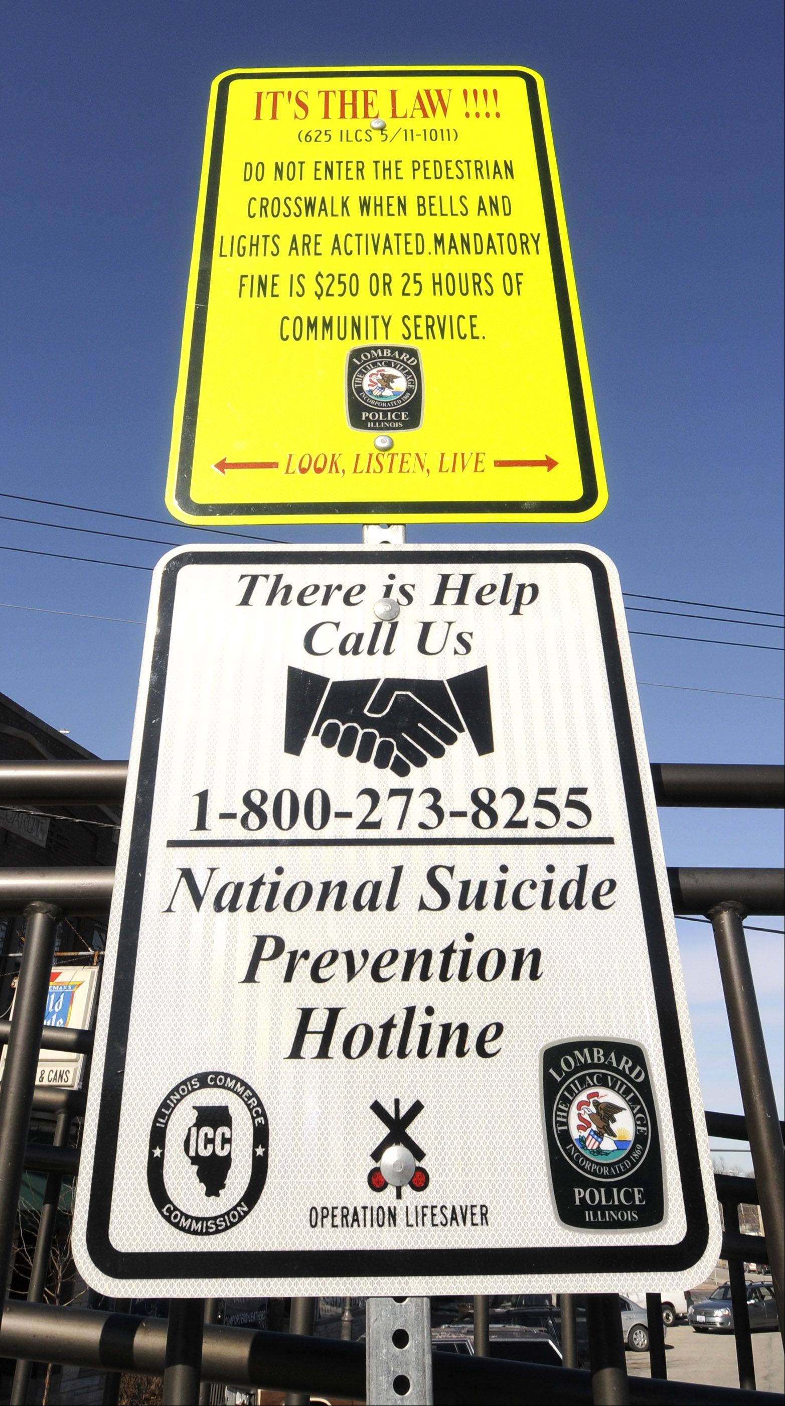 Lombard and Villa Park are the only towns in the state to post signs about suicide prevention near their train stations, railroad safety advocates say.