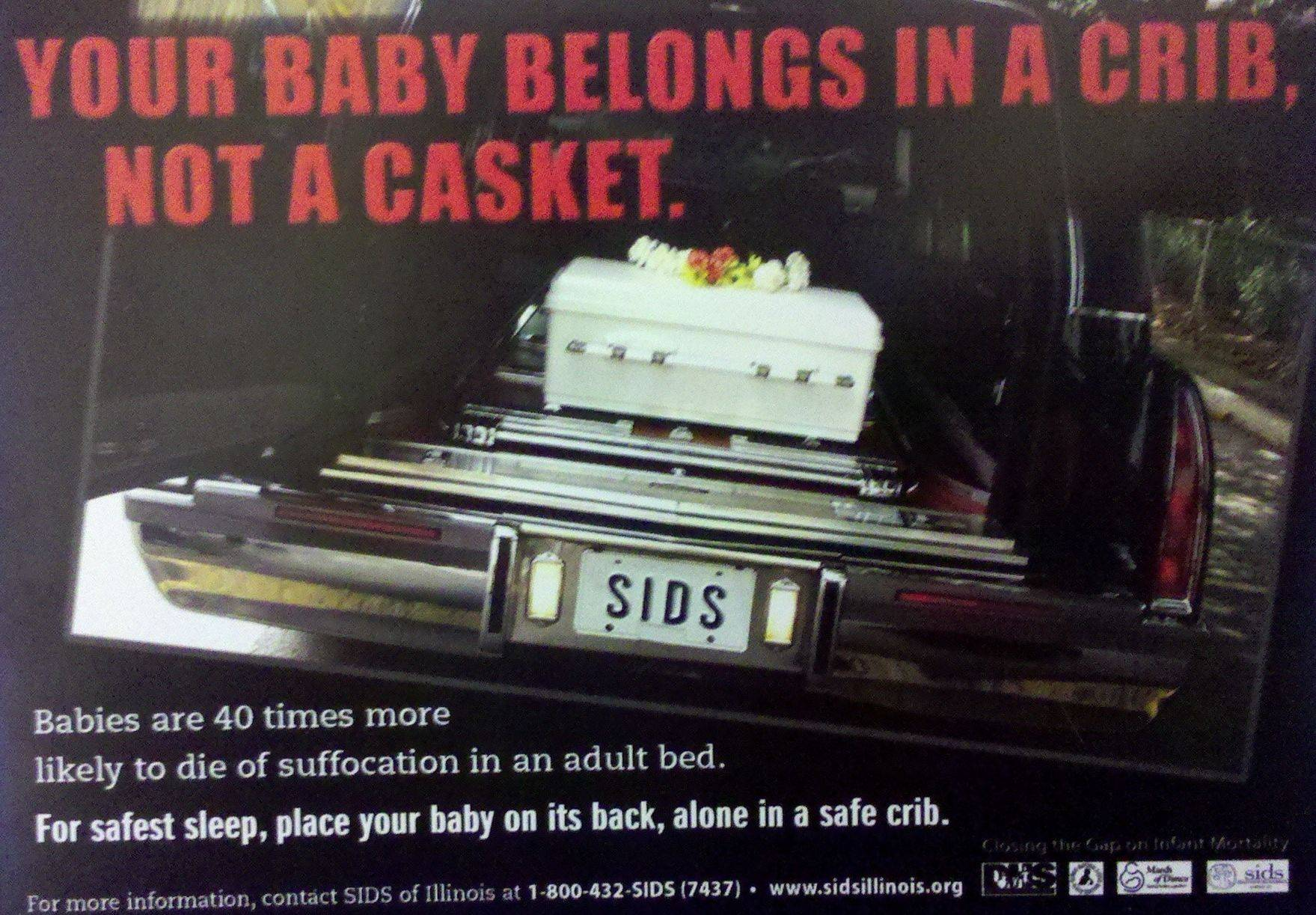 A provocative billboard advertisement campaign launched by SIDS of Illinois points out the dangers of co-sleeping for babies.