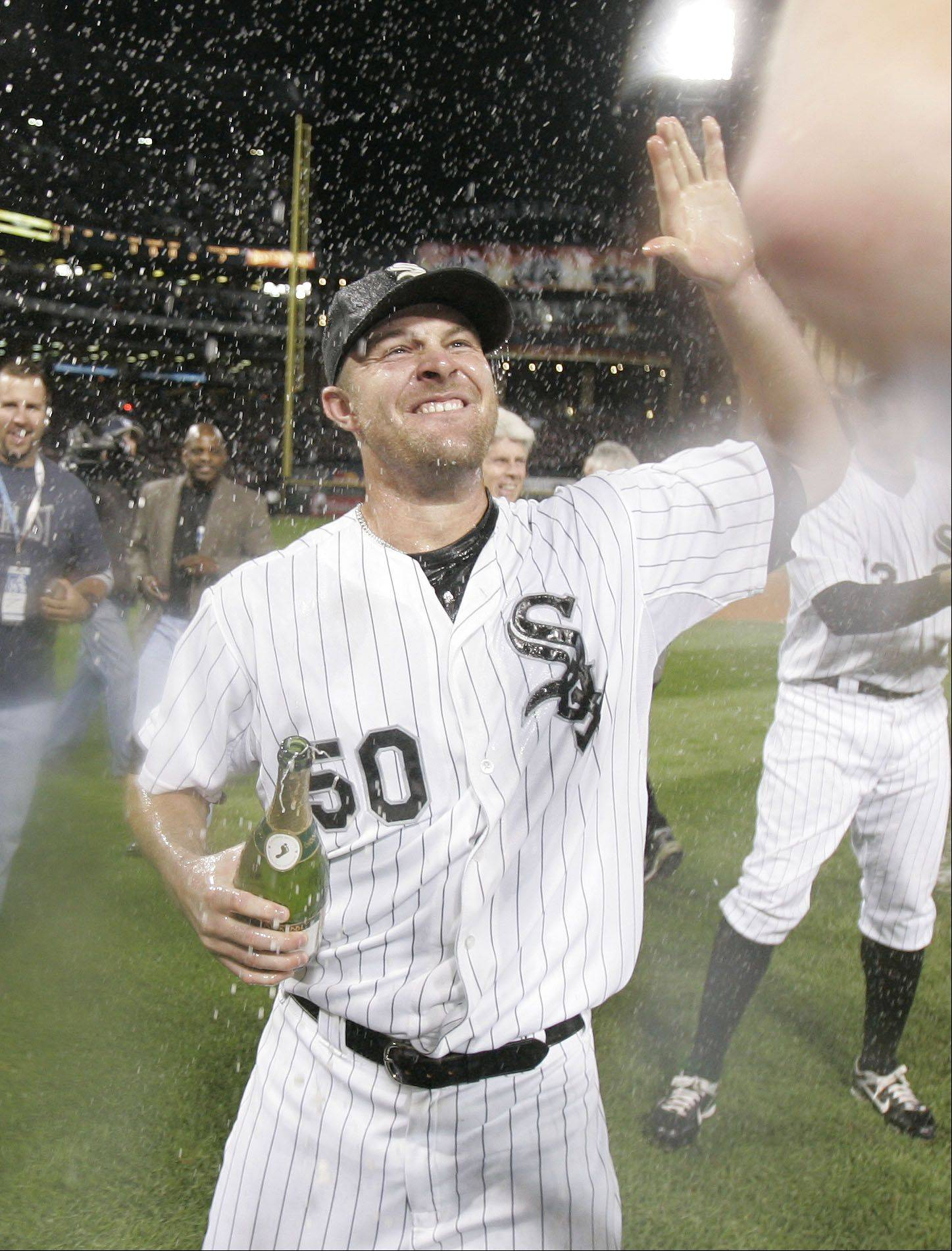John Danks after the win over the Minnesota Twins in the Central Division tiebreaker game.
