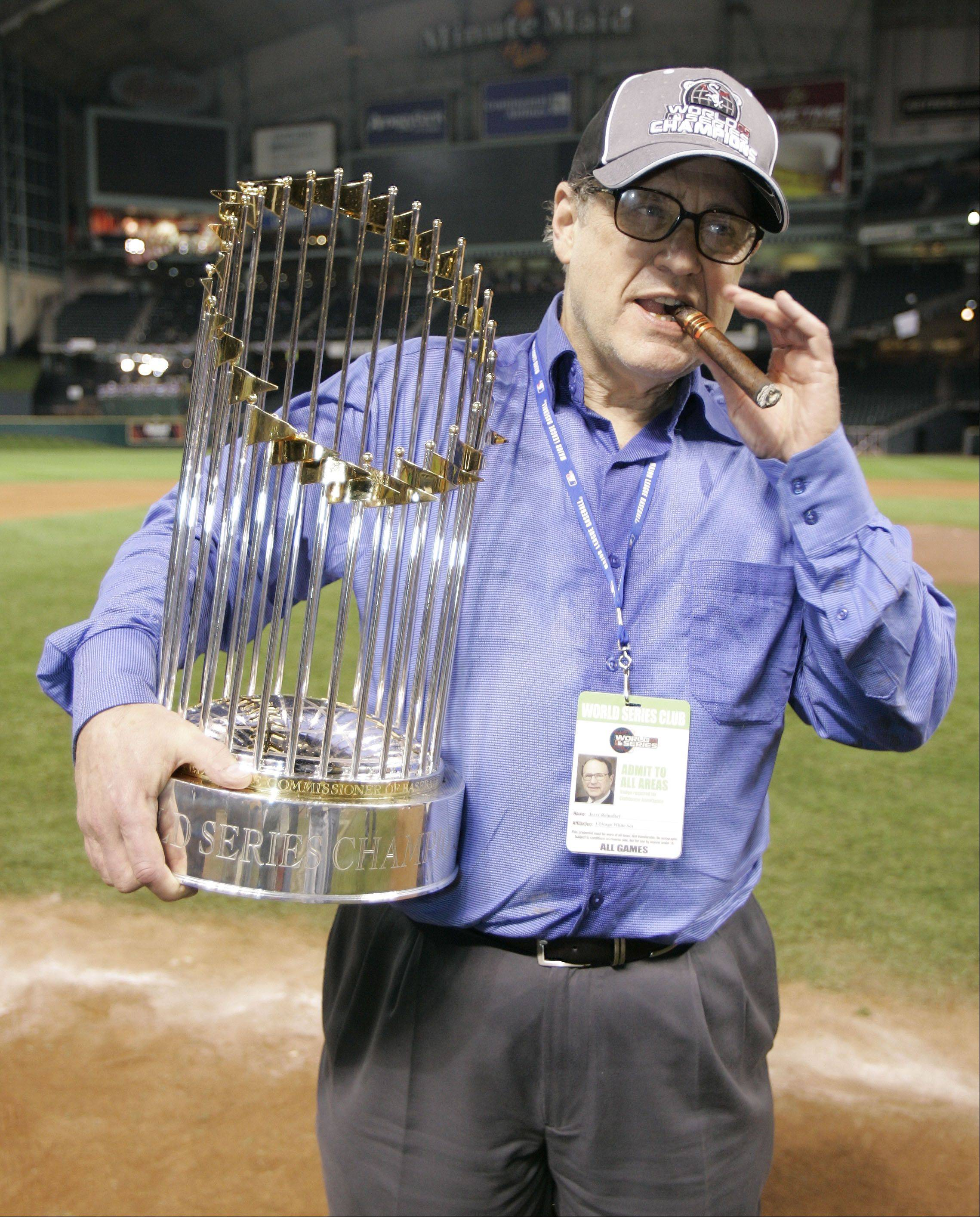 Jerry Reinsdorf with the 2005 World Series trophy