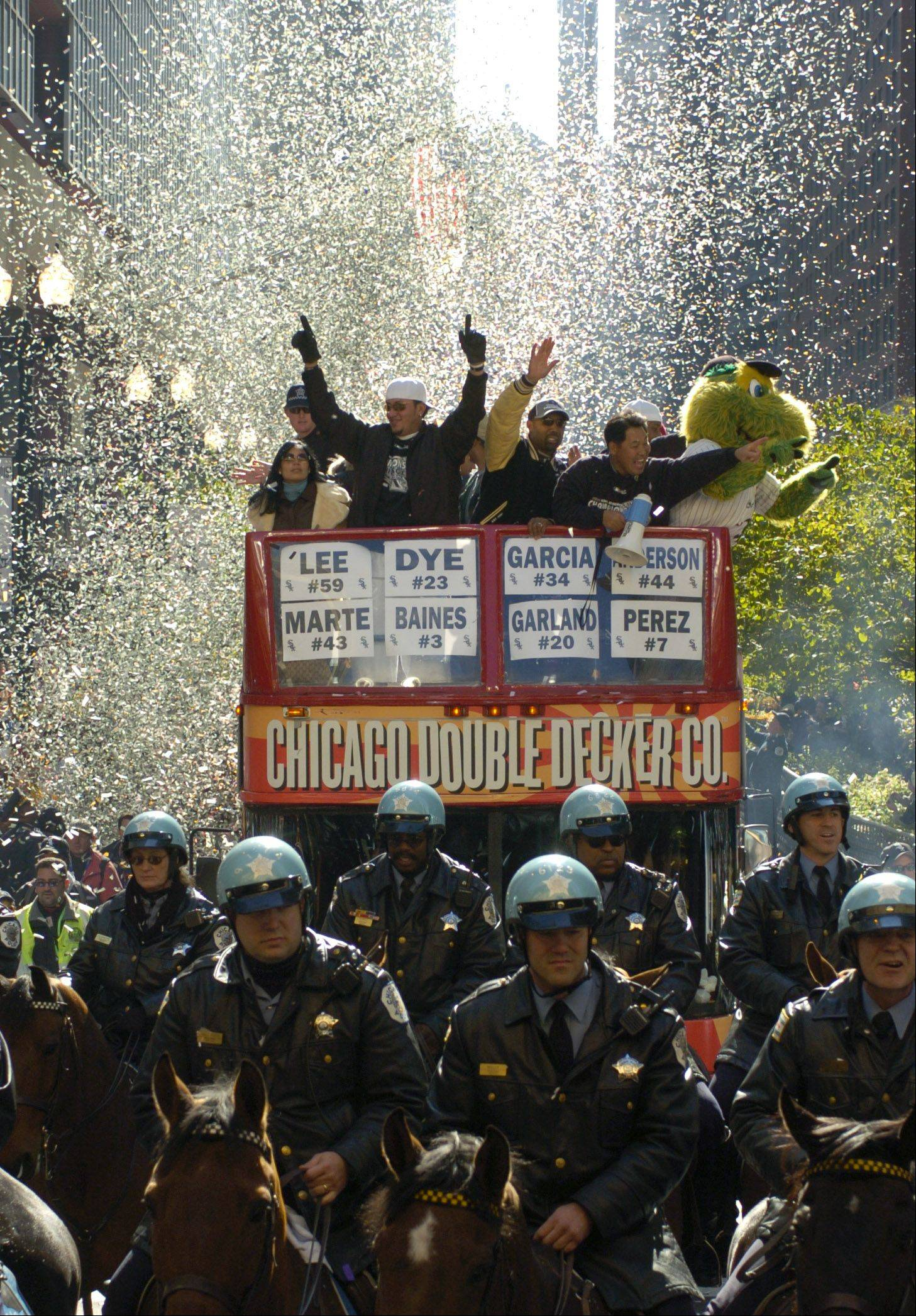 The Chicago White Sox during their victory ticker tape parade in Chicago lead by Sox pitcher Freddy Garcia.