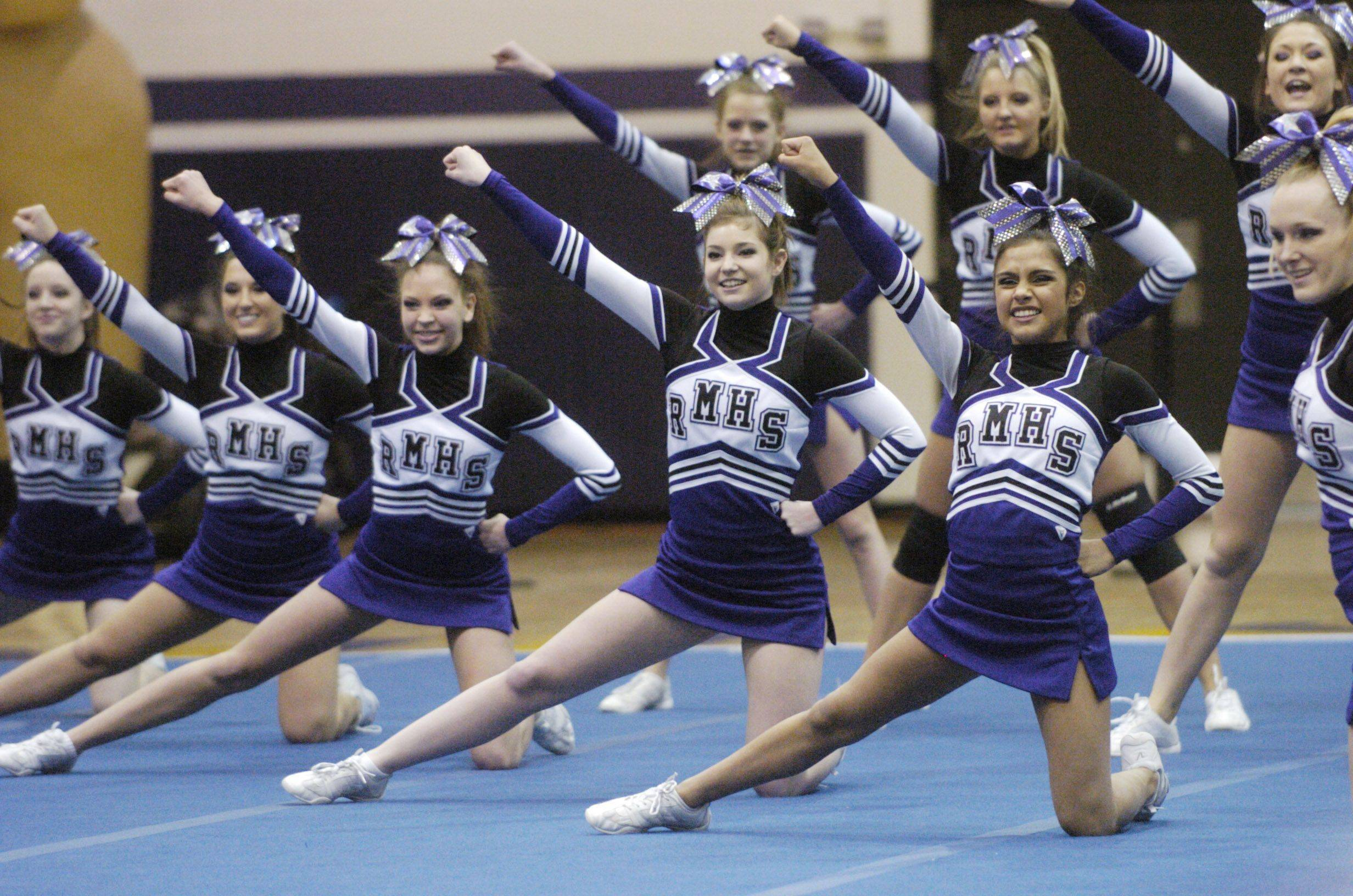 Rolling Meadows comeptes during Saturday's cheerleading sectional hosted by Rolling Meadows High School.