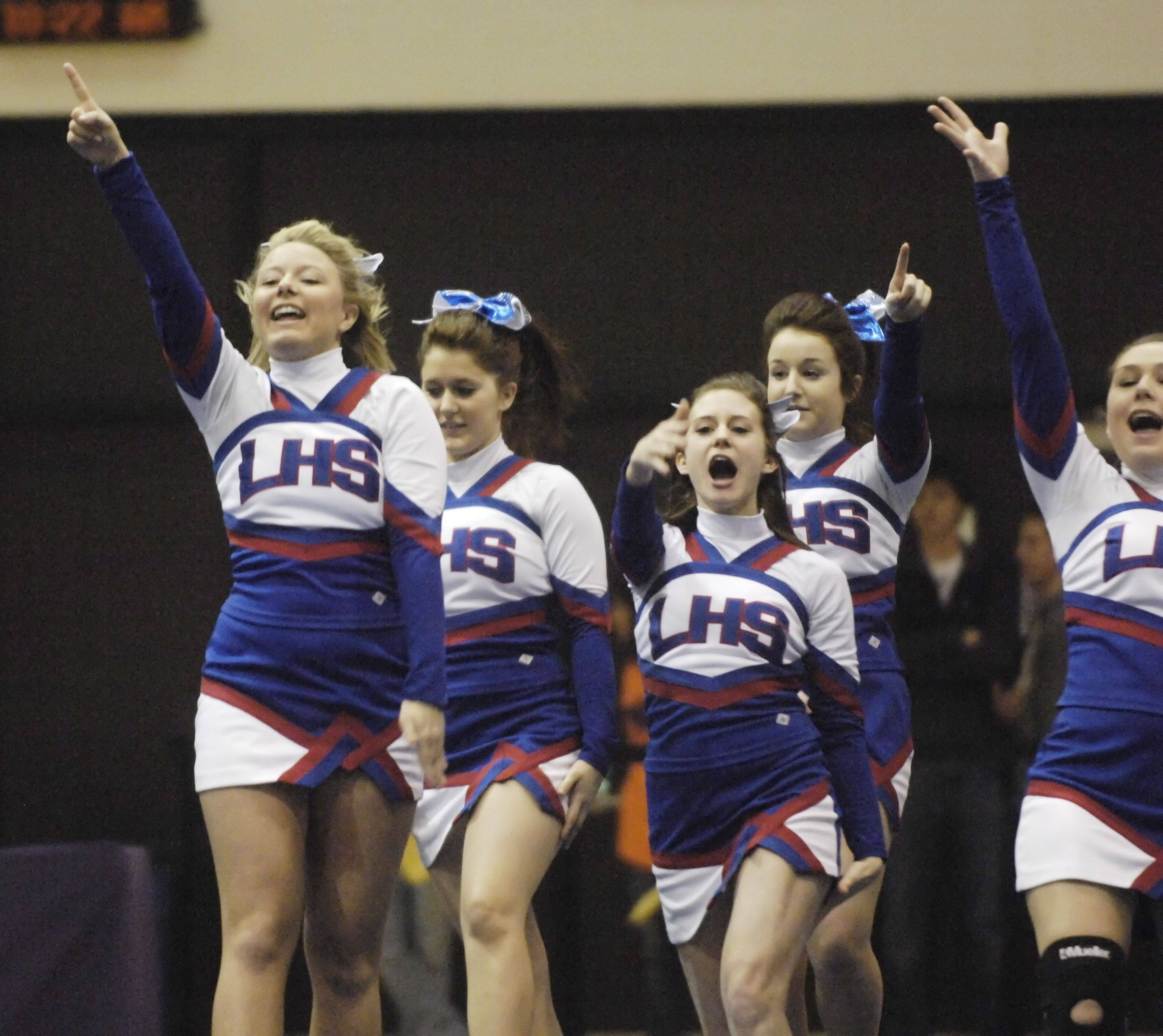 Larkin High School competes during Saturday's cheerleading sectional hosted by Rolling Meadows High School.