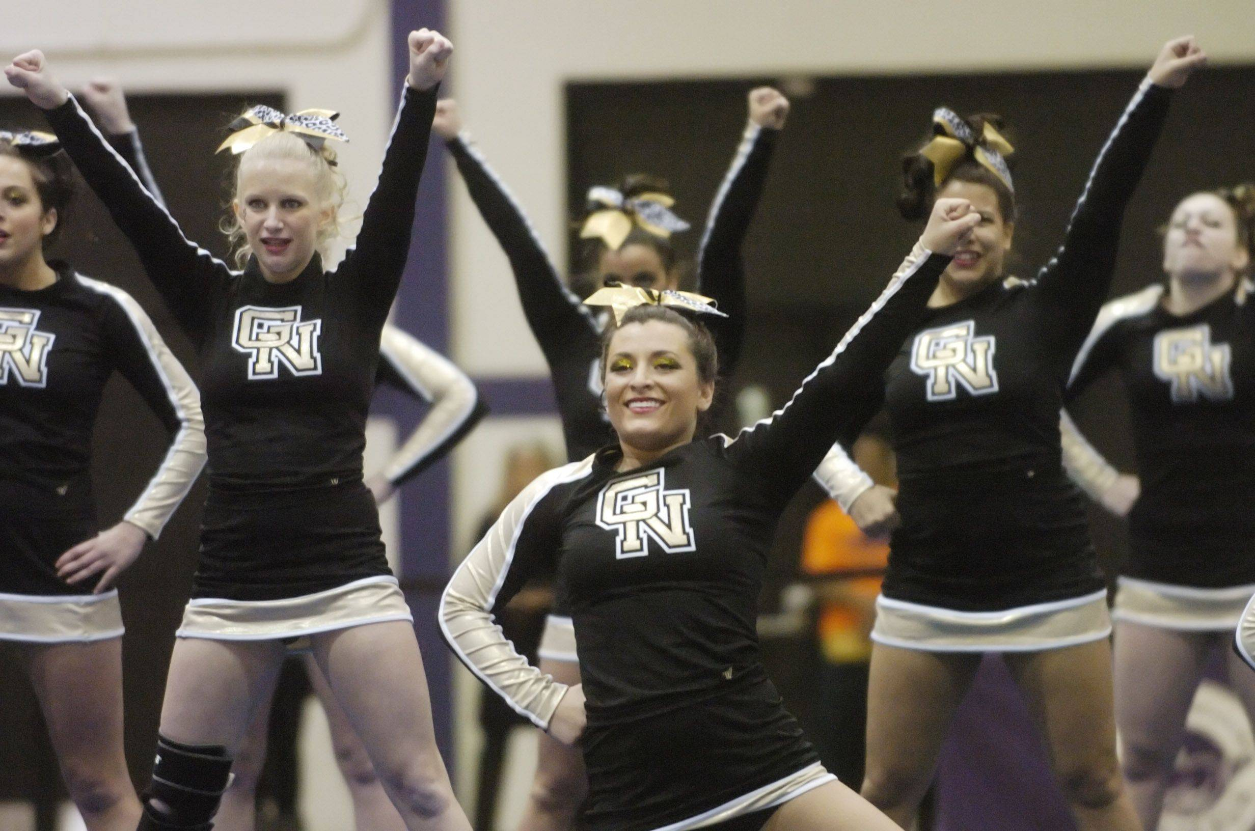 Glenbard North competes during Saturday's cheerleading sectional hosted by Rolling Meadows High School.