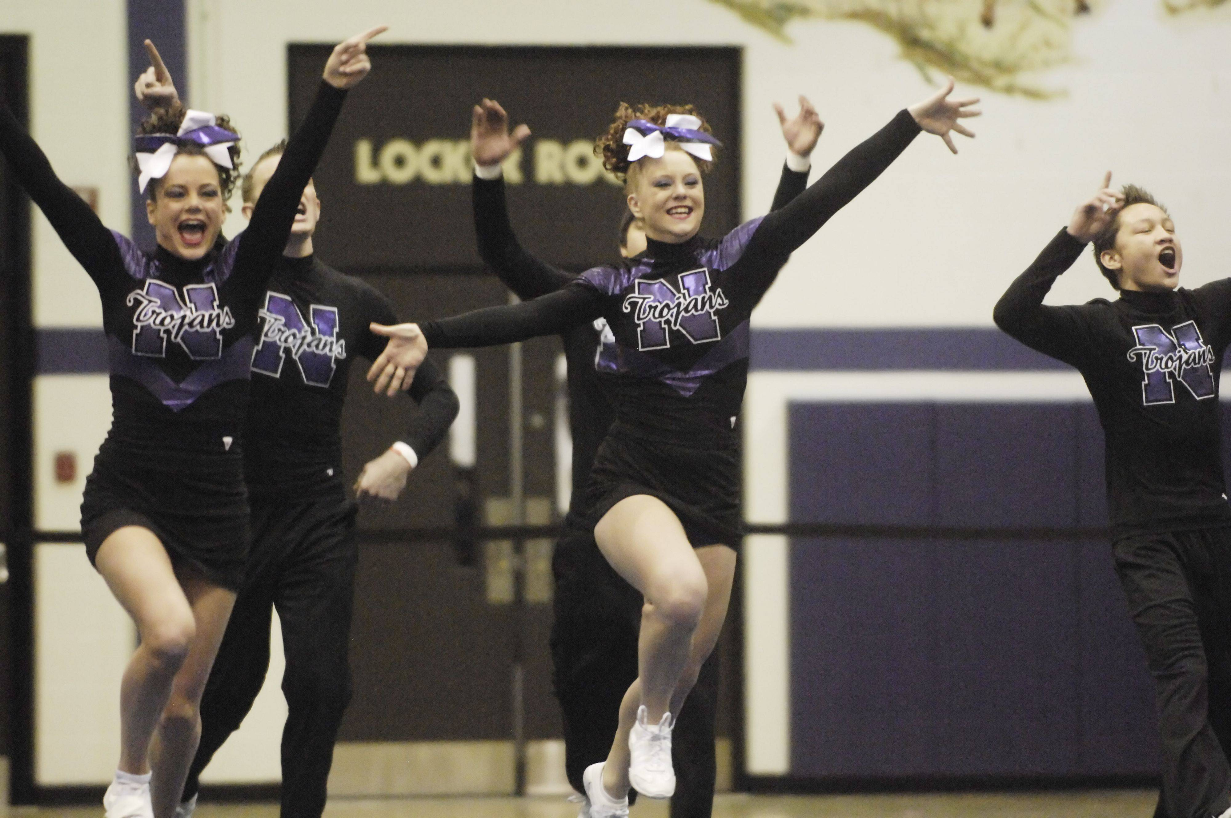 Downers Grove North competes during Saturday's cheerleading sectional hosted by Rolling Meadows High School.
