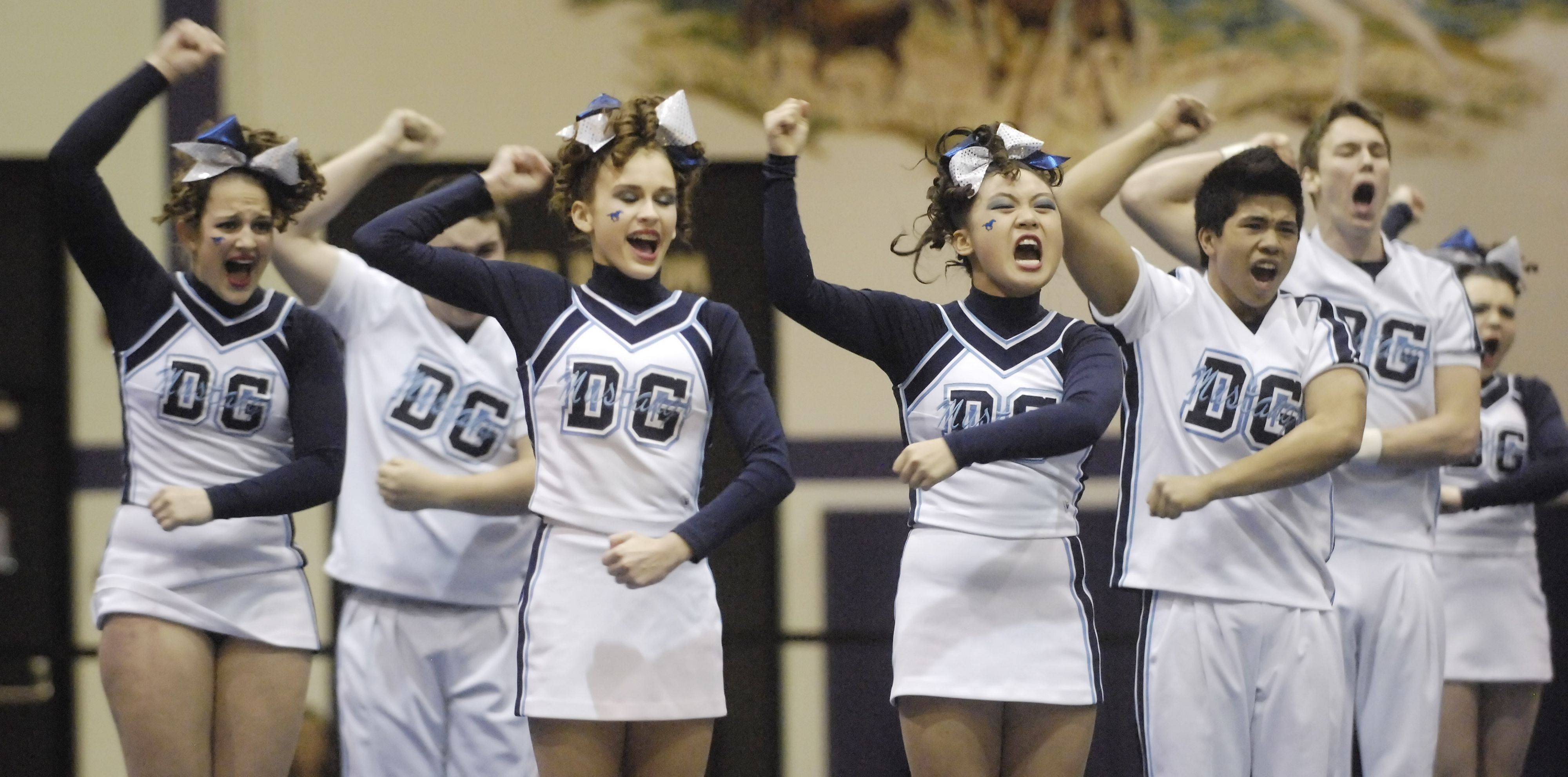 Downers Grove South competes during Saturday's cheerleading sectional hosted by Rolling Meadows High School.
