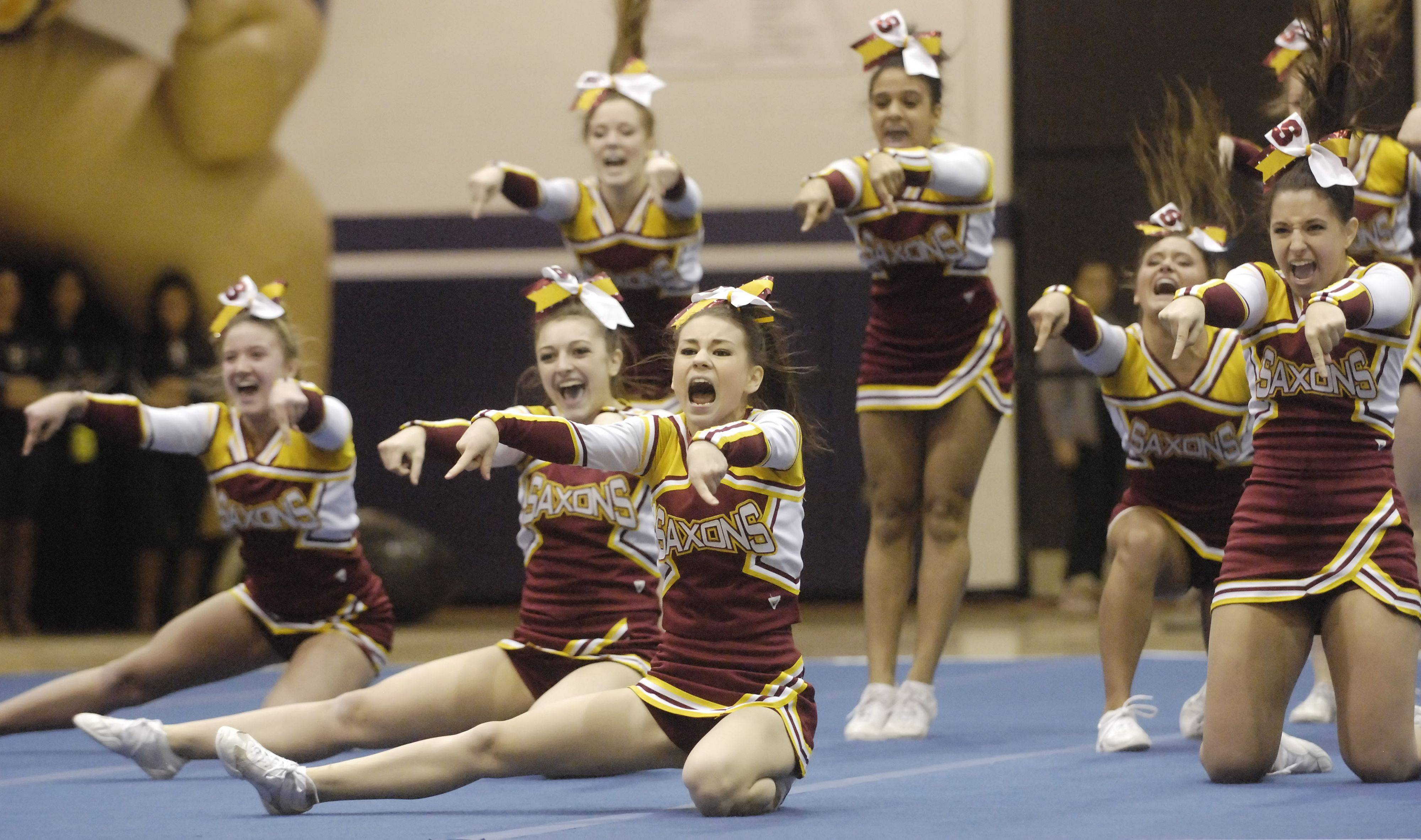 Schaumburg competes during Saturday's cheerleading sectional hosted by Rolling Meadows High School.