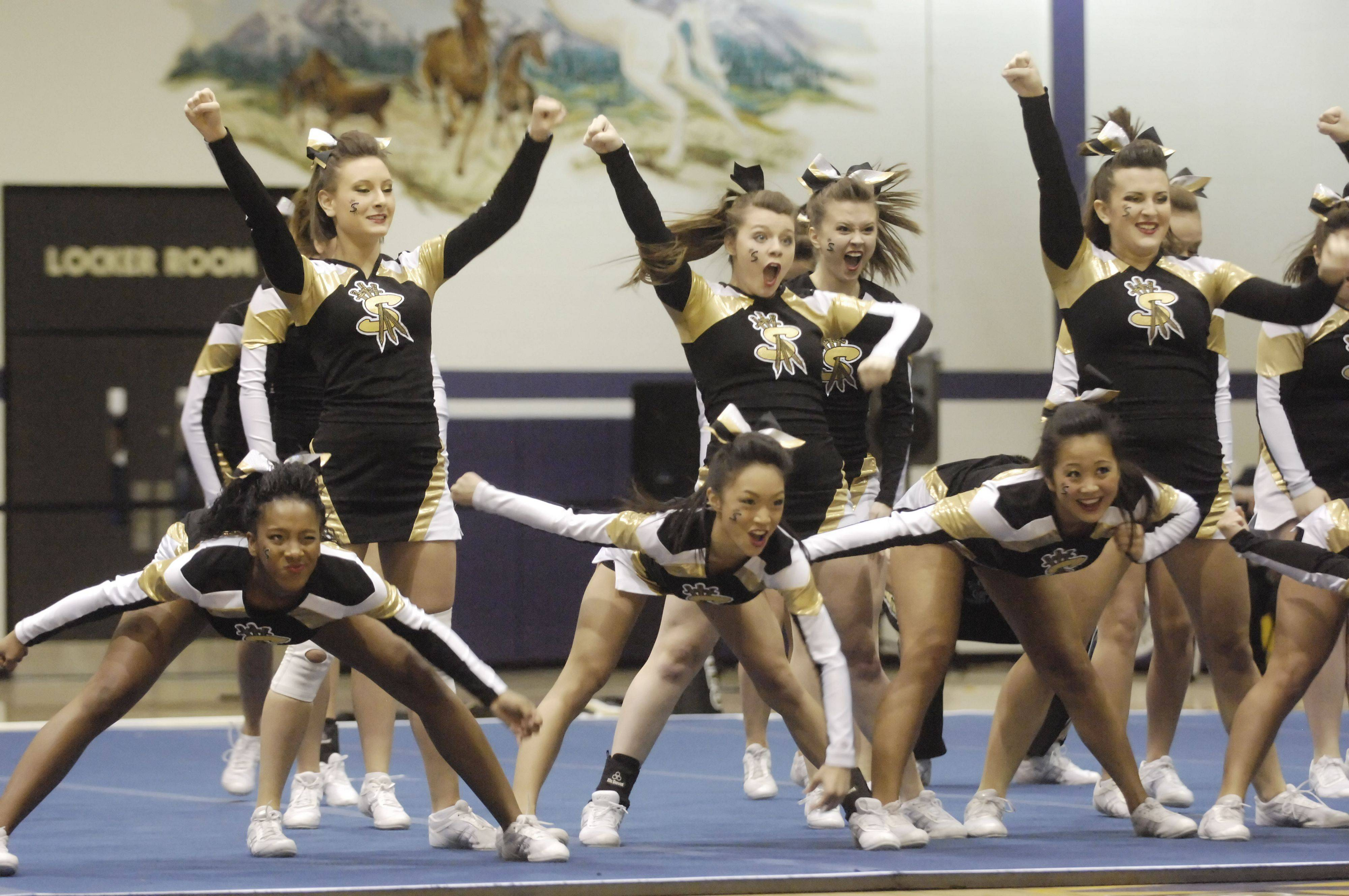 Streamwood competes during Saturday's cheerleading sectional hosted by Rolling Meadows High School.