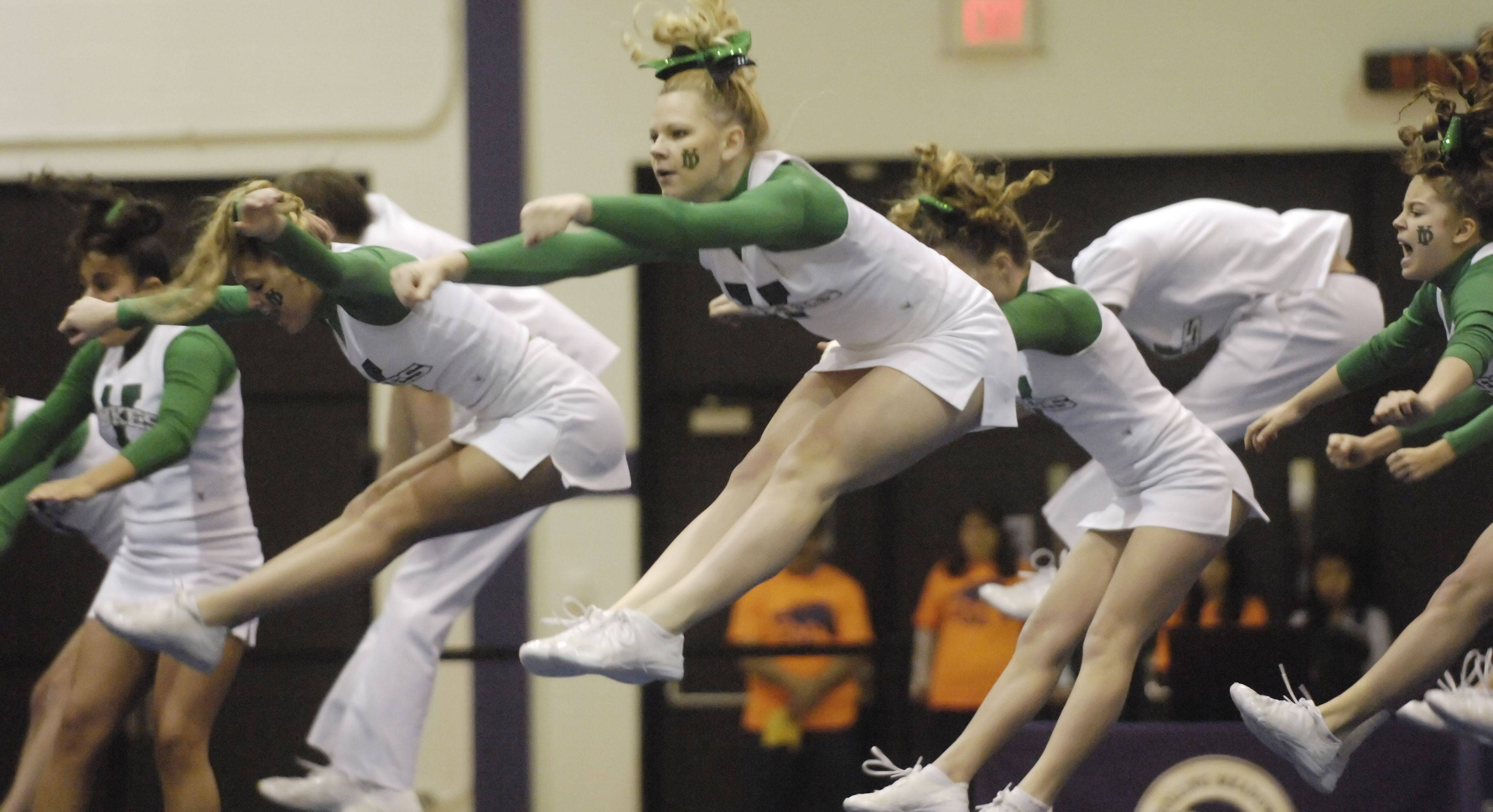 York High School competes during Saturday's cheerleading sectional hosted by Rolling Meadows High School.