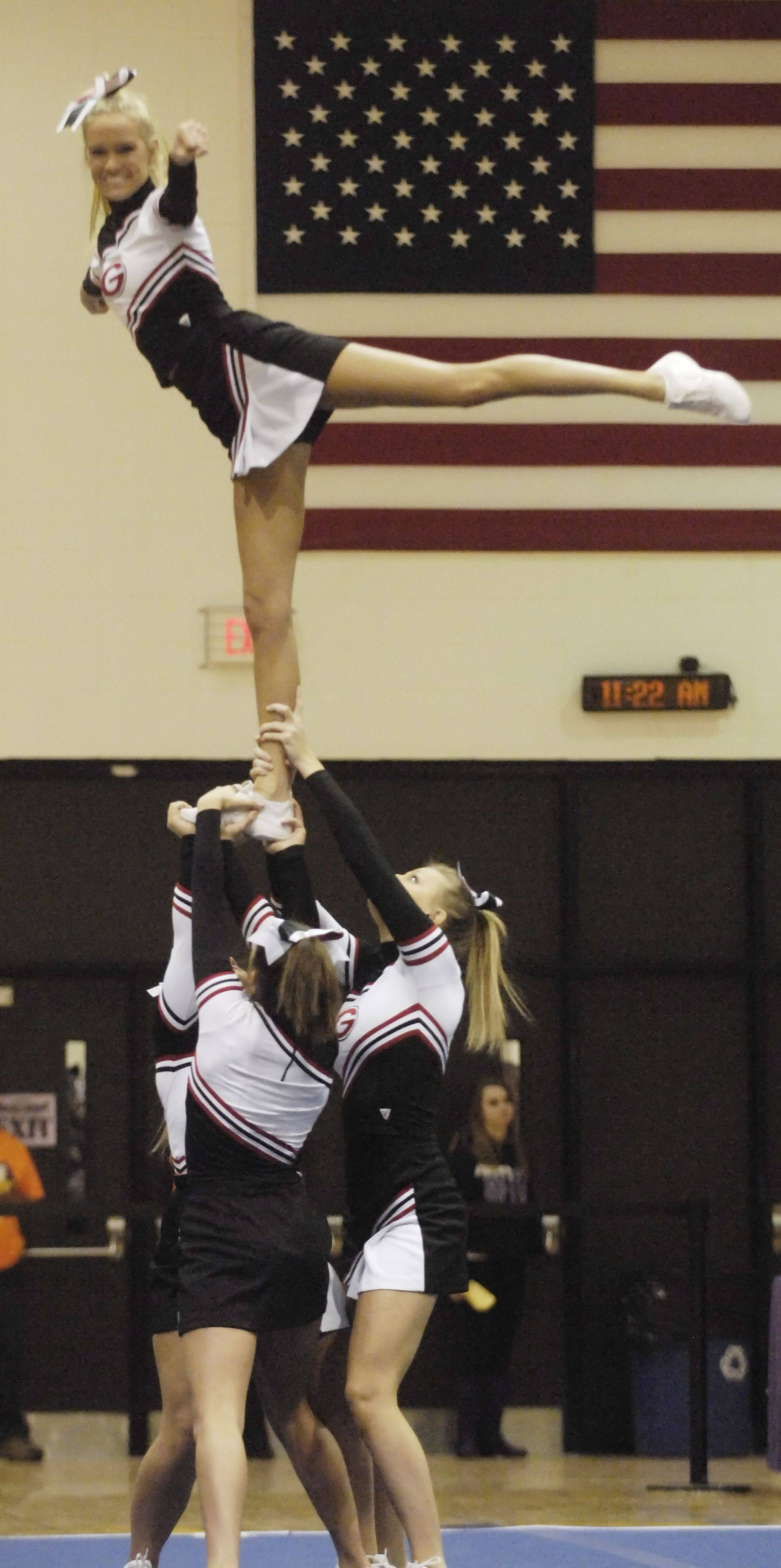 Glenbard East competes during Saturday's cheerleading sectional hosted by Rolling Meadows High School.