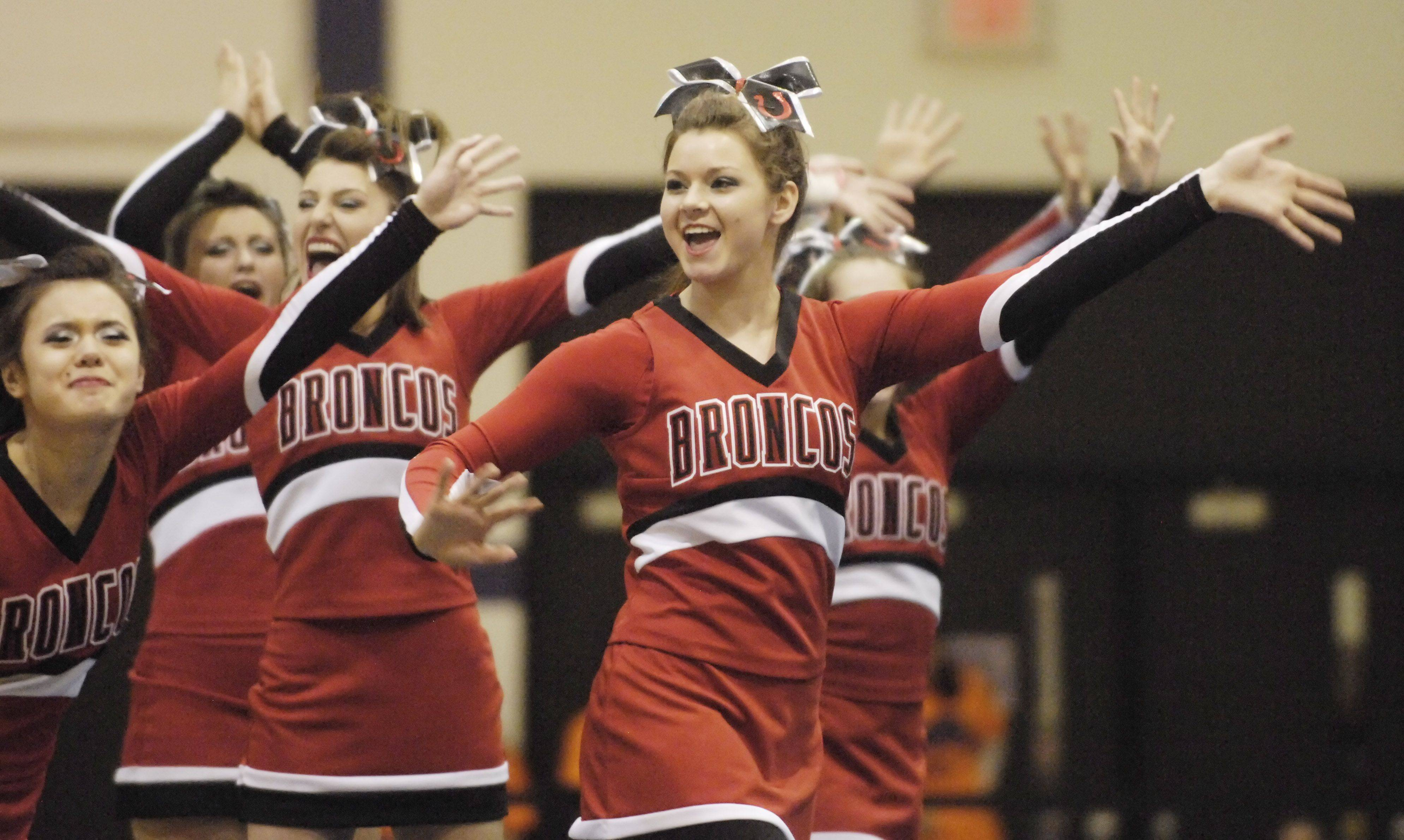 Barrington competes during Saturday's cheerleading sectional hosted by Rolling Meadows High School.