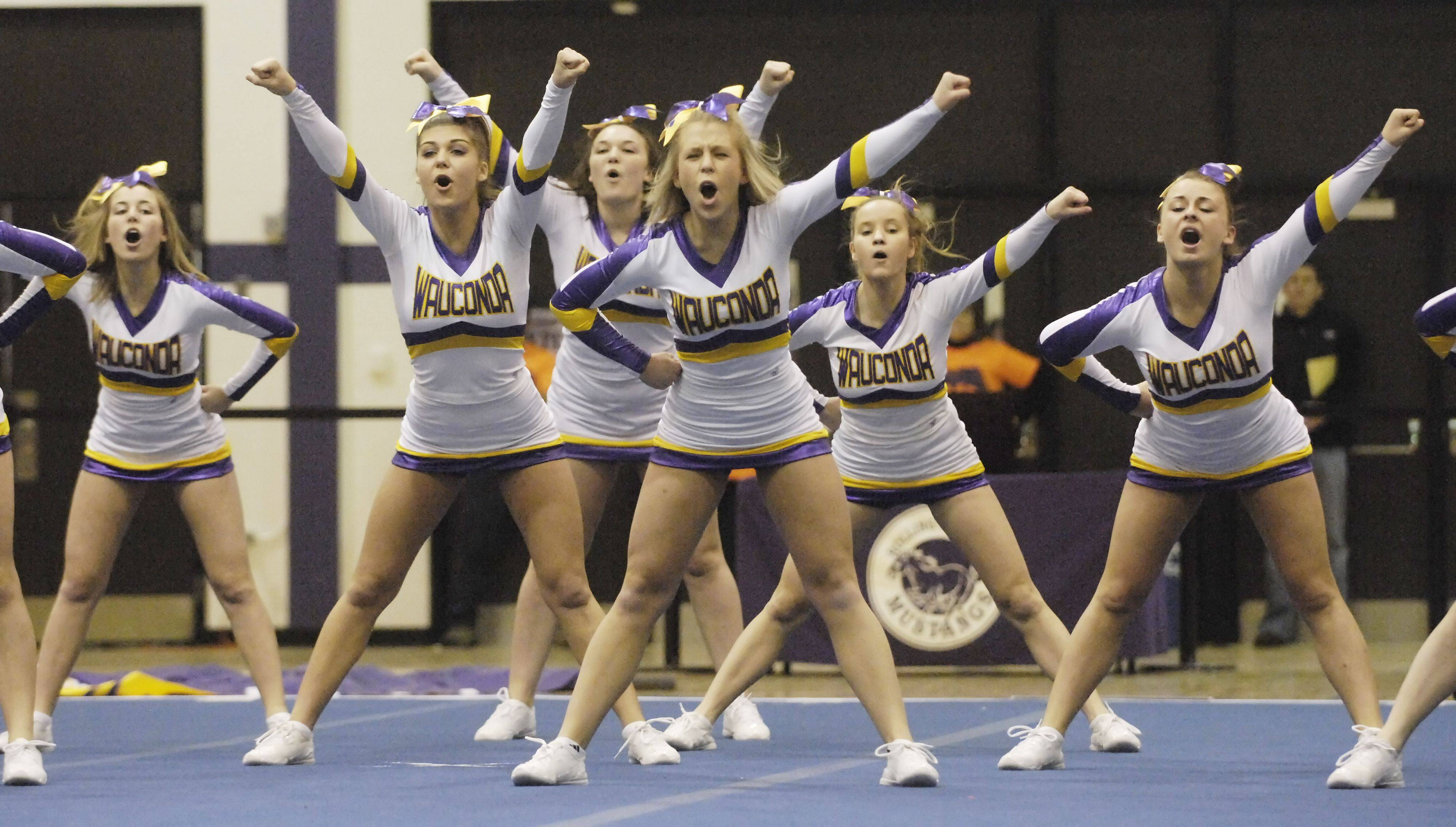 Wauconda competes during Saturday's cheerleading sectional hosted by Rolling Meadows High School.