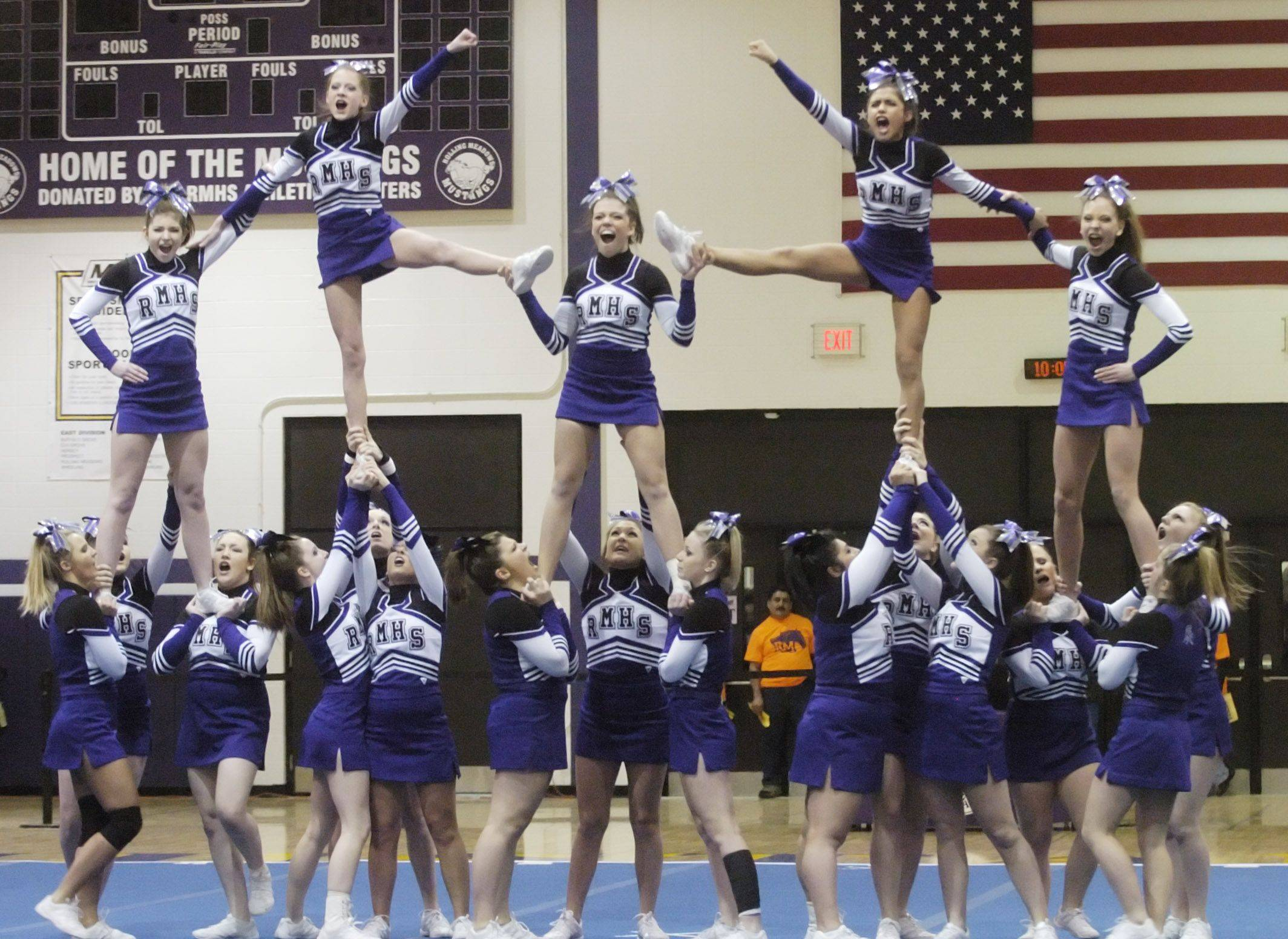 Rolling Meadows competes during Saturday's cheerleading sectional hosted by Rolling Meadows High School.
