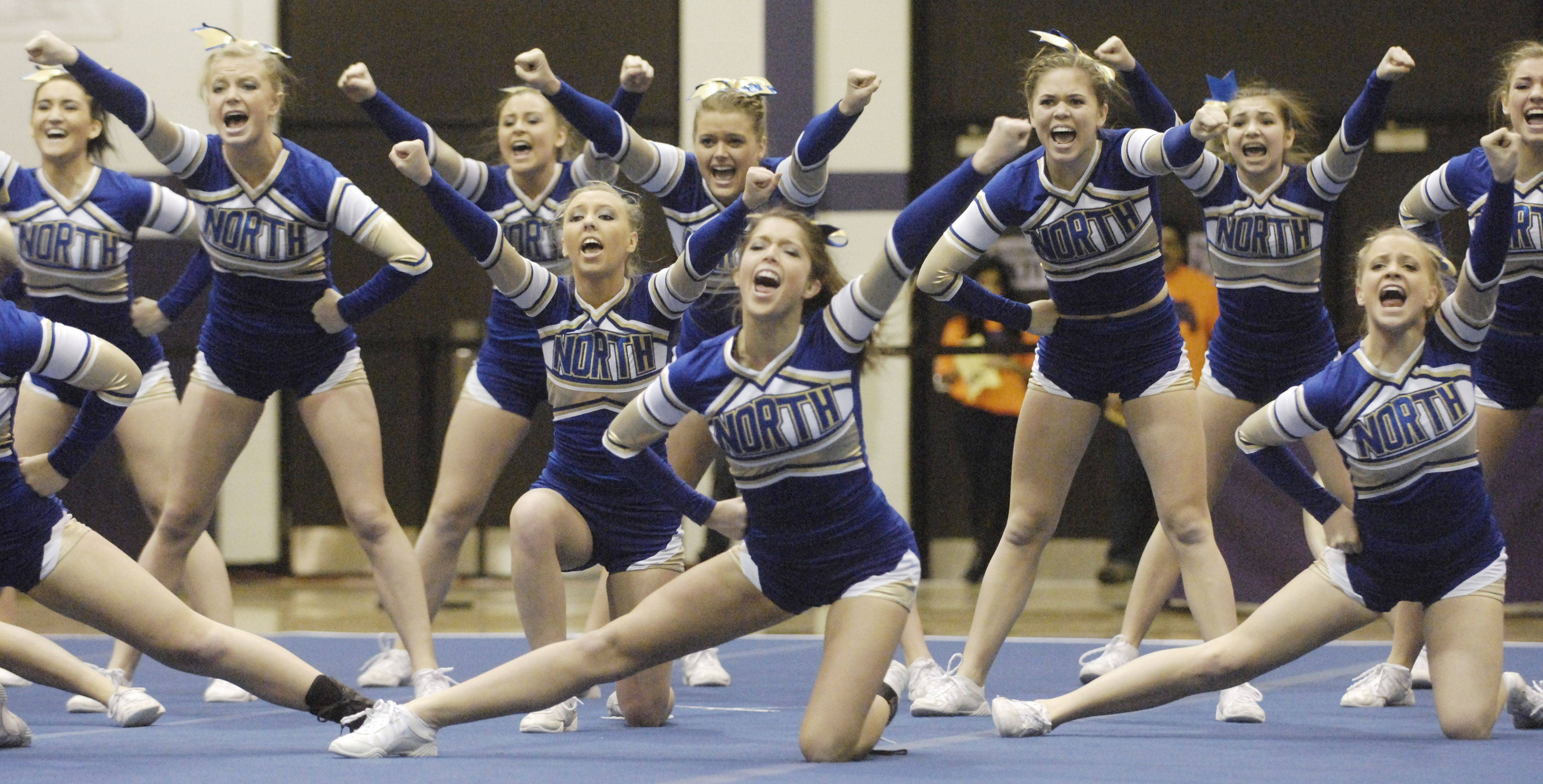 Wheaton North competes during Saturday's cheerleading sectional hosted by Rolling Meadows High School.