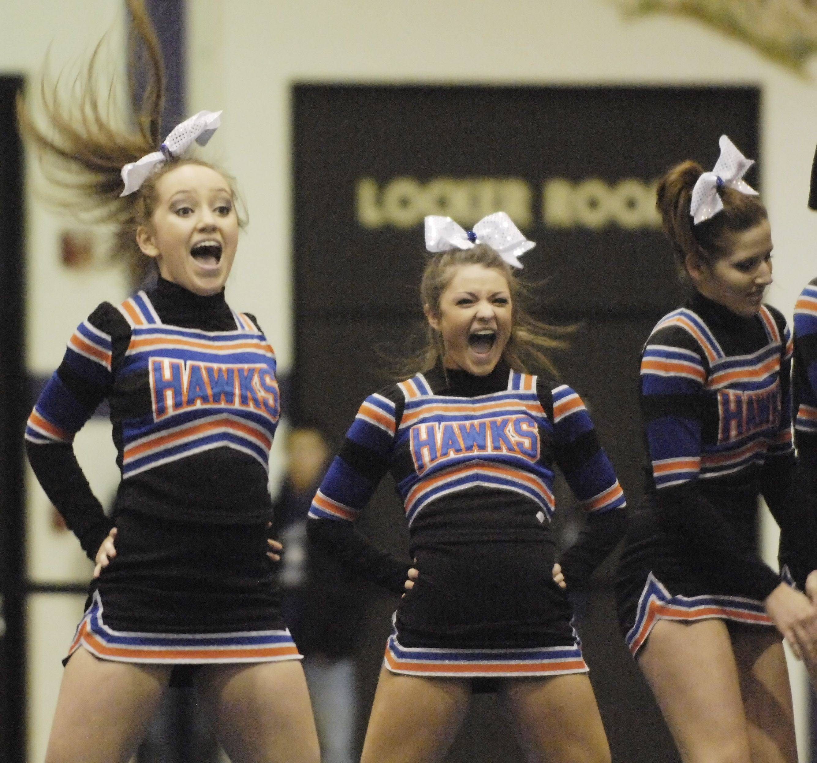 Hoffman Estates High School competes during Saturday's cheerleading sectional hosted by Rolling Meadows High School.