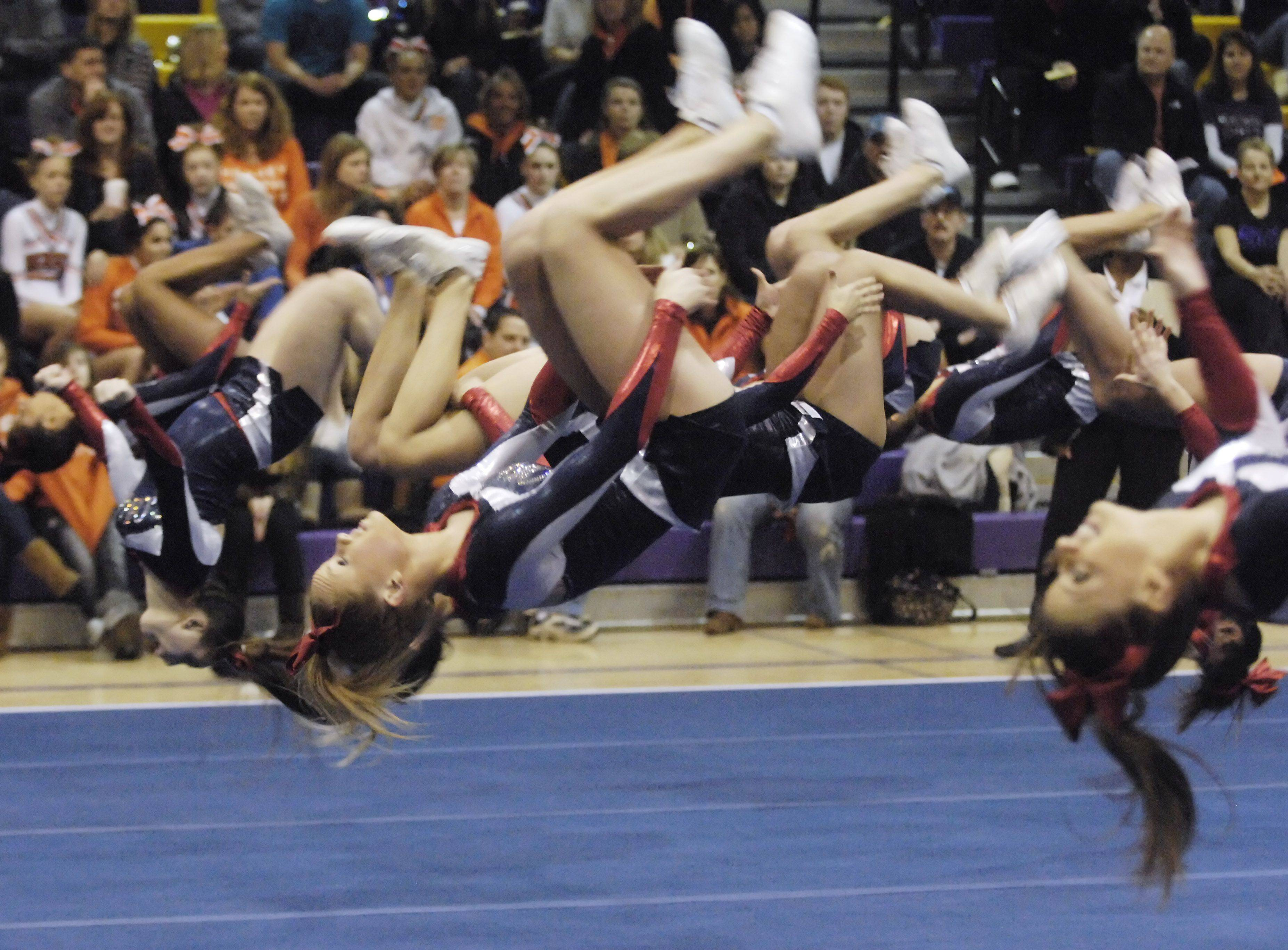 Conant competes during Saturday's cheerleading sectional hosted by Rolling Meadows High School.