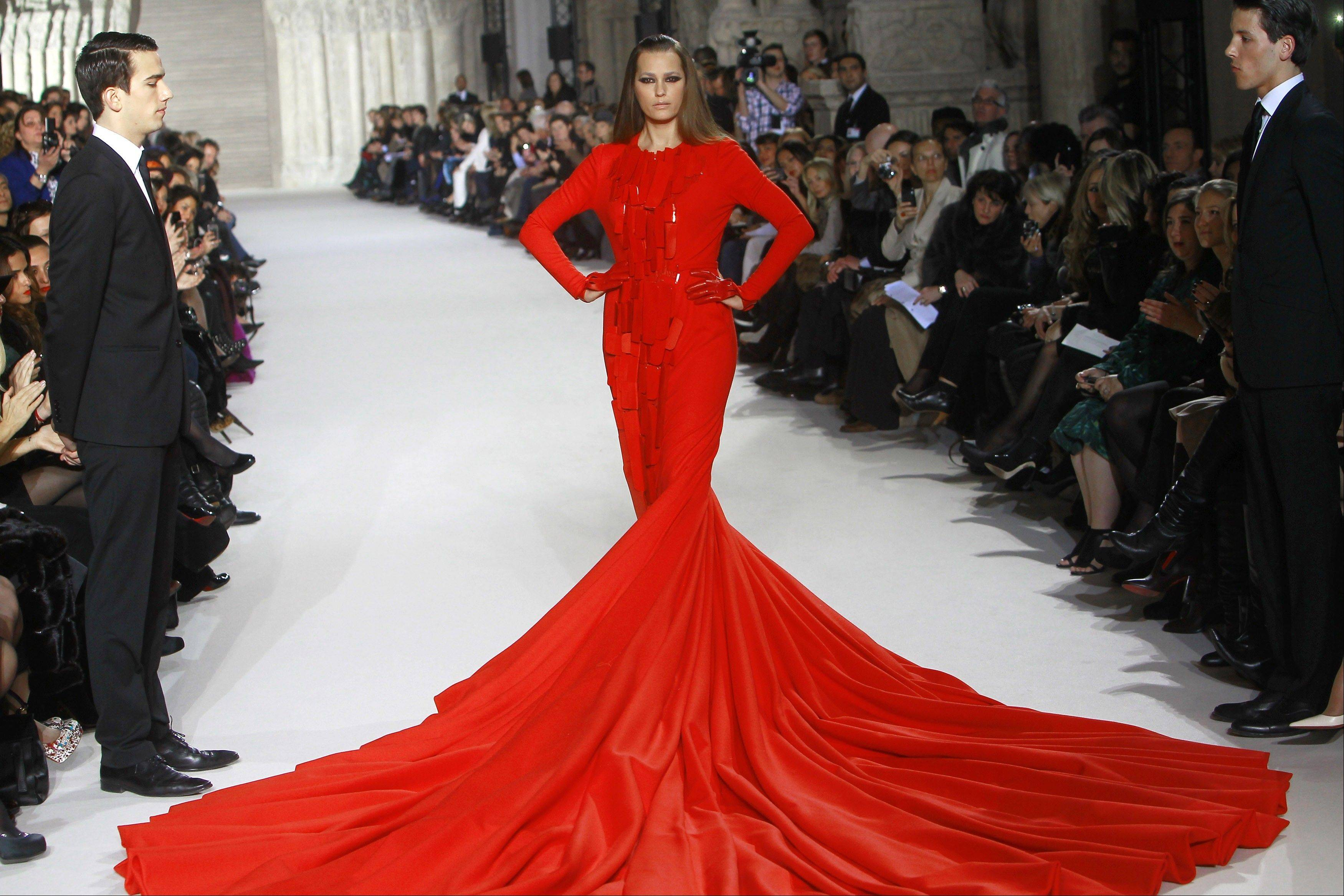 A model wears a creation by French fashion designer Stephane Rolland as part of his presentation Women's Spring Summer 2012 Haute Couture fashion collection presented in Paris, Tuesday, Jan. 24, 2012.