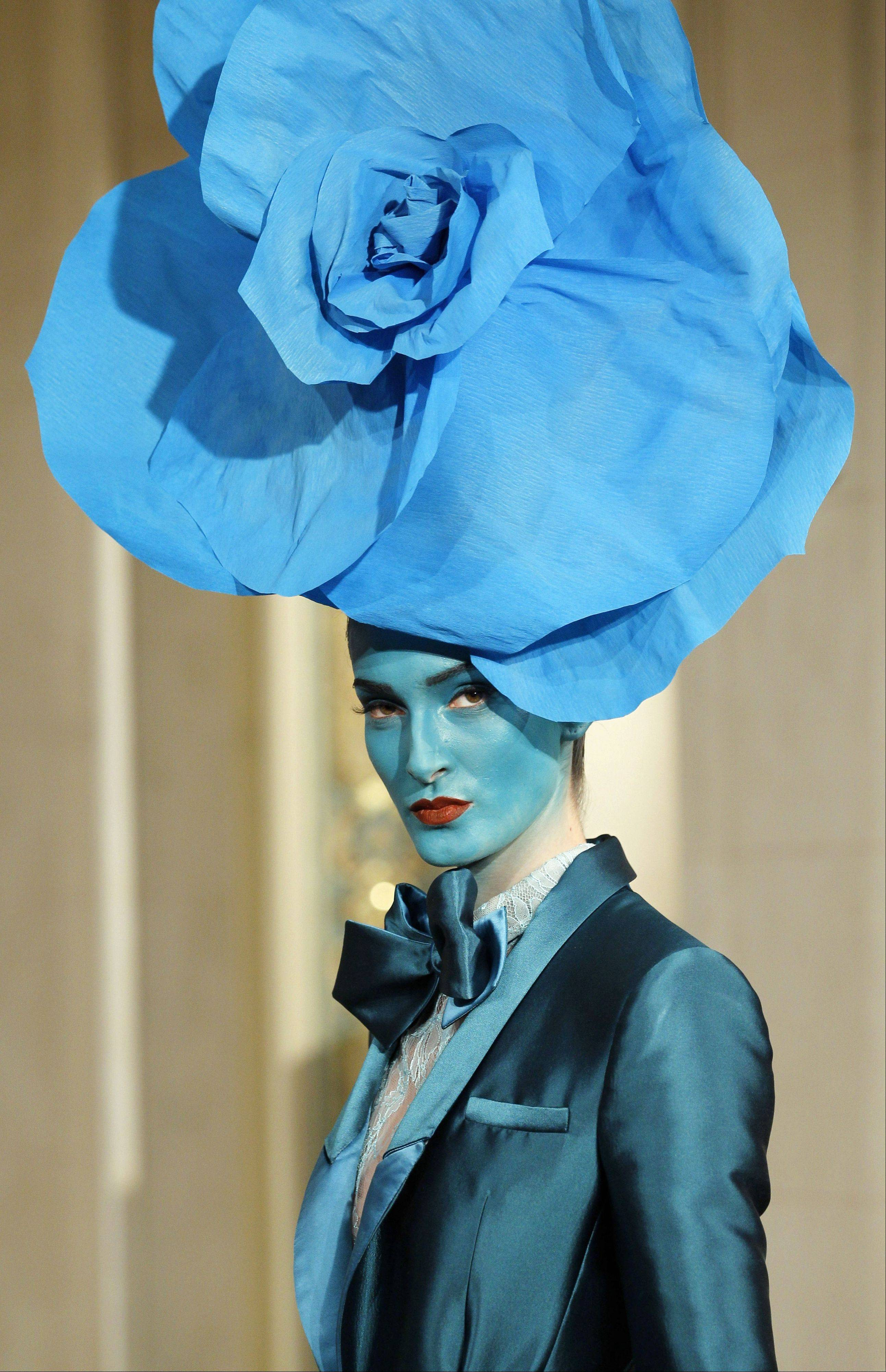 A model wears a creation by fashion designer Alexis Mabille as part of his Women's Spring Summer 2012 Haute Couture fashion collection presented in Paris, Monday, Jan. 23, 2012.