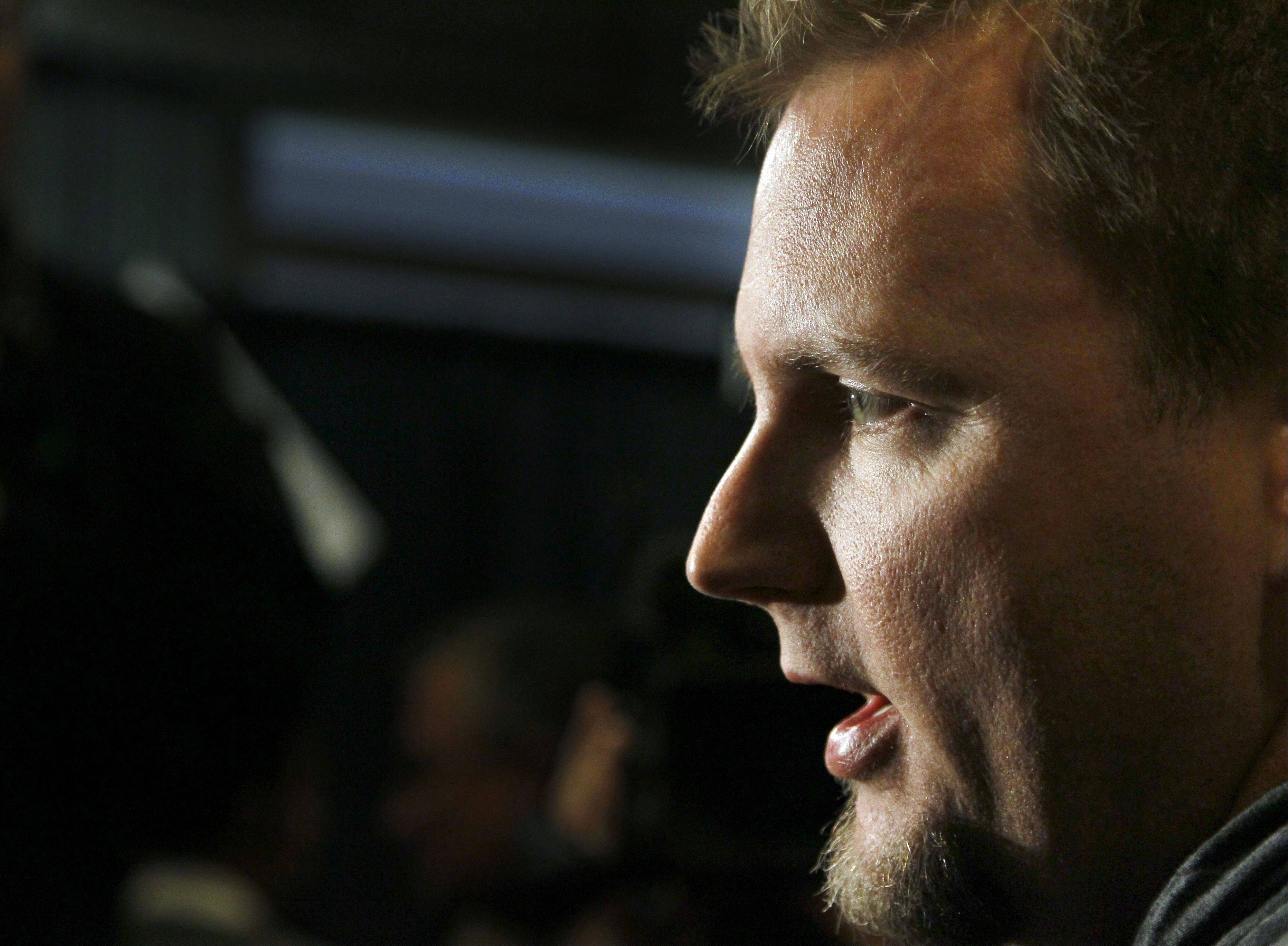 Chicago White Sox catcher A.J. Pierzynski talks with reporters during the White Sox Fan Fest.