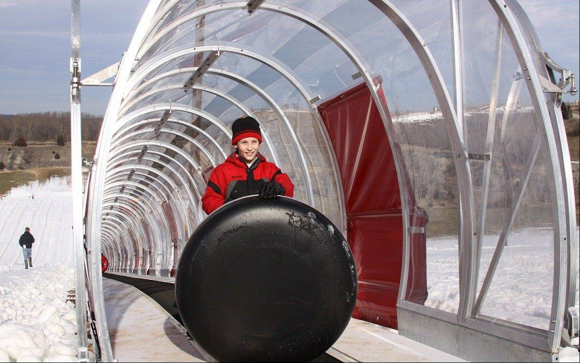 The new snow-tubing area at Wilmot Mountain, near Kenosha, Wis., is open seven days a week.