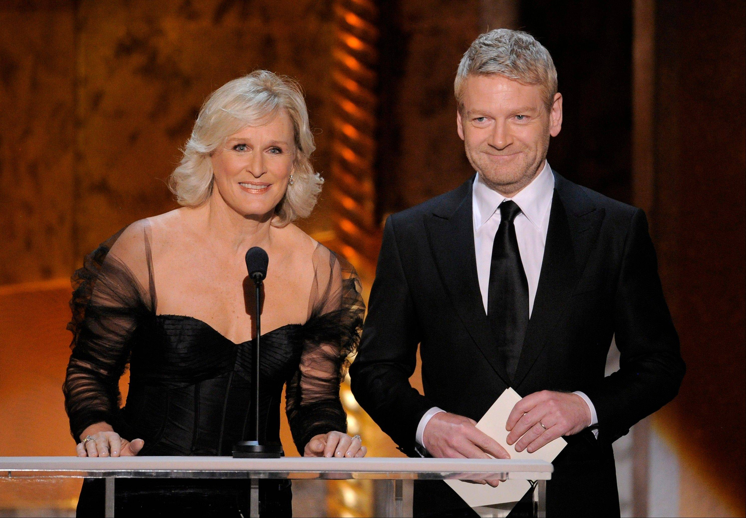"ASSOCIATED PRESS""Damages"" star Glenn Close, left, and ""My Week With Marilyn"" star Kenneth Branagh are seen onstage."