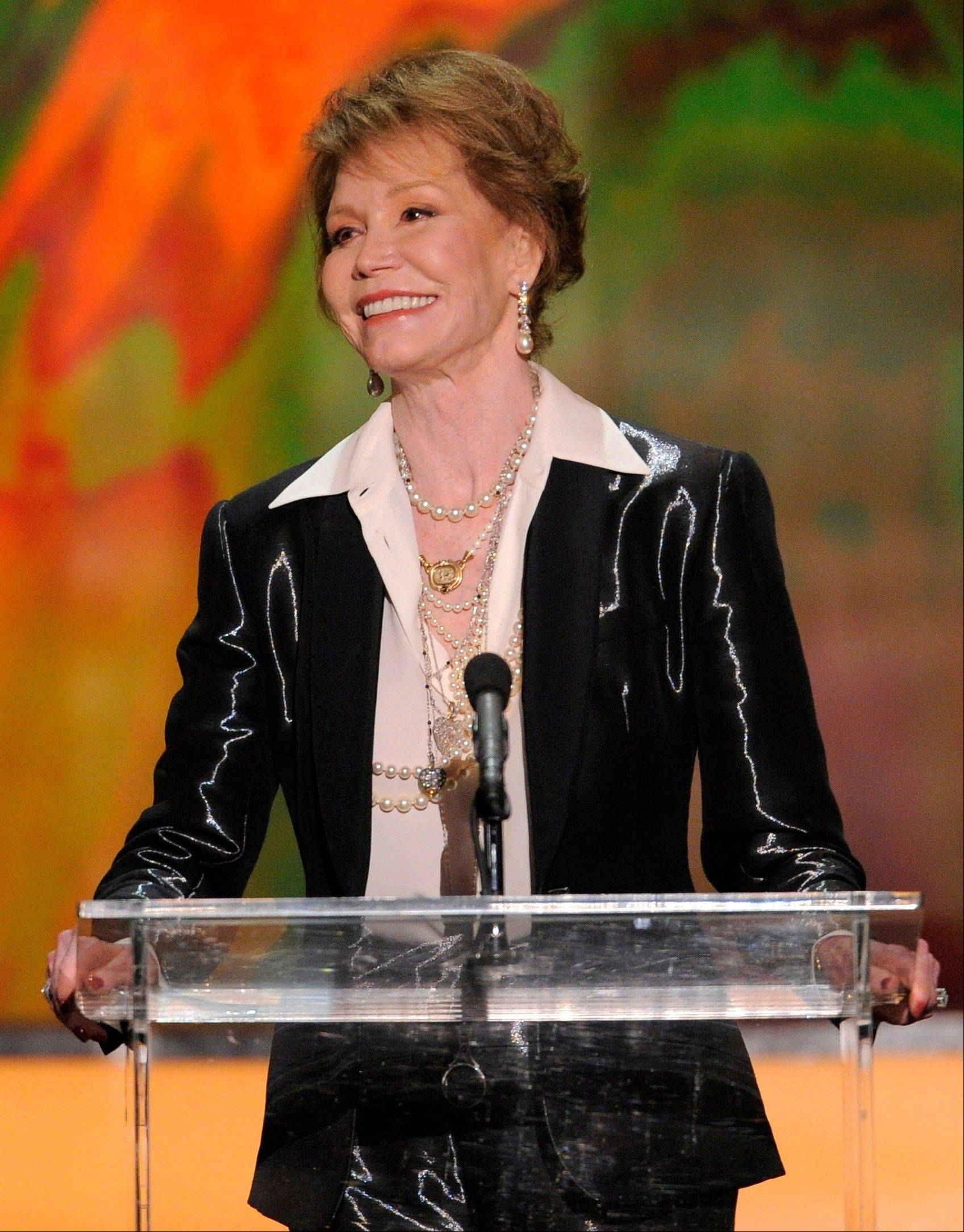 ASSOCIATED PRESSMary Tyler Moore accepts the Life Achievement award.