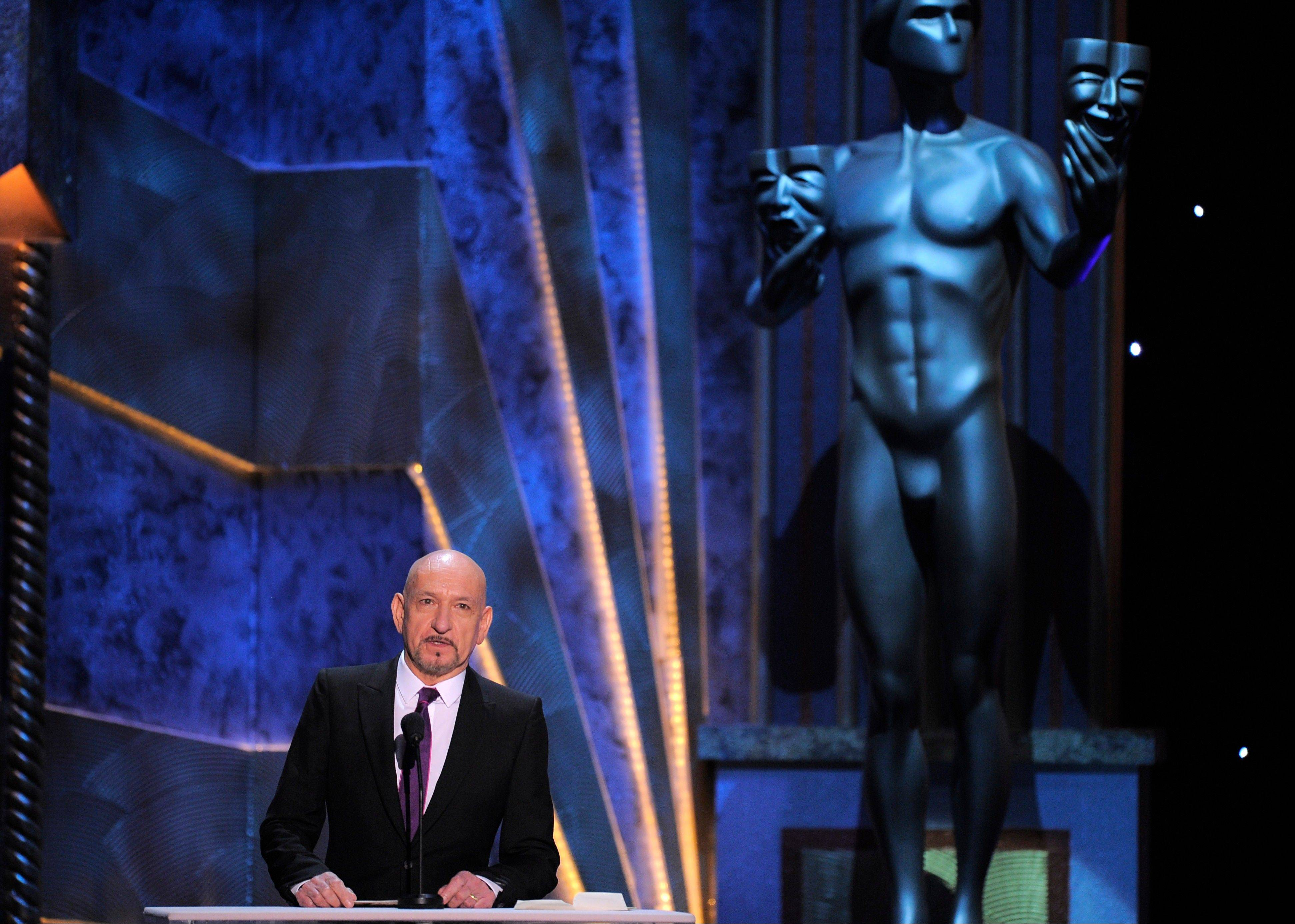ASSOCIATED PRESSSir Ben Kingsley presents the award for outstanding performance by a female actor in a leading role.