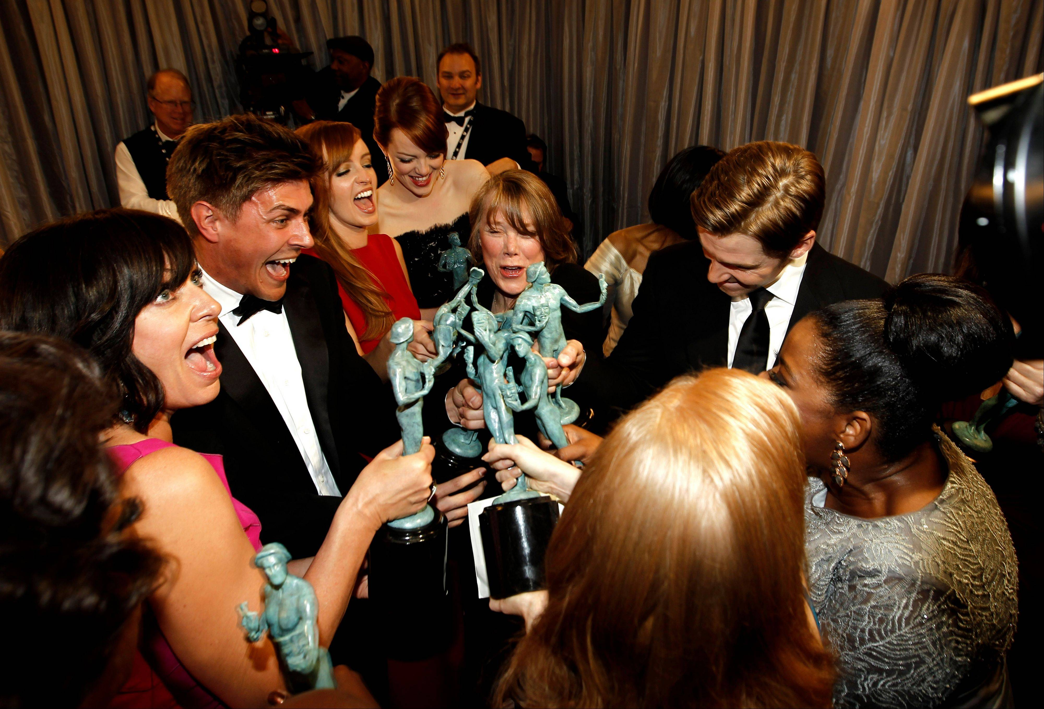 "ASSOCIATED PRESSThe cast of ""The Help"" is seen backstage after accepting the award for outstanding performance by a cast in a motion picture."