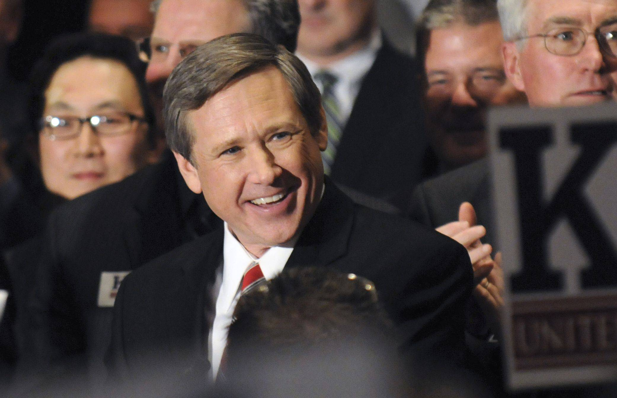 Mark Kirk greets a crowd in Wheeling as he accepts the Republican nomination to run for U.S. Senate in April 2010. Kirk, who suffered a stroke last weekend and is recovering, was elected to President Barack Obama's old Senate seat over Democrat Alexi Giannoulias.