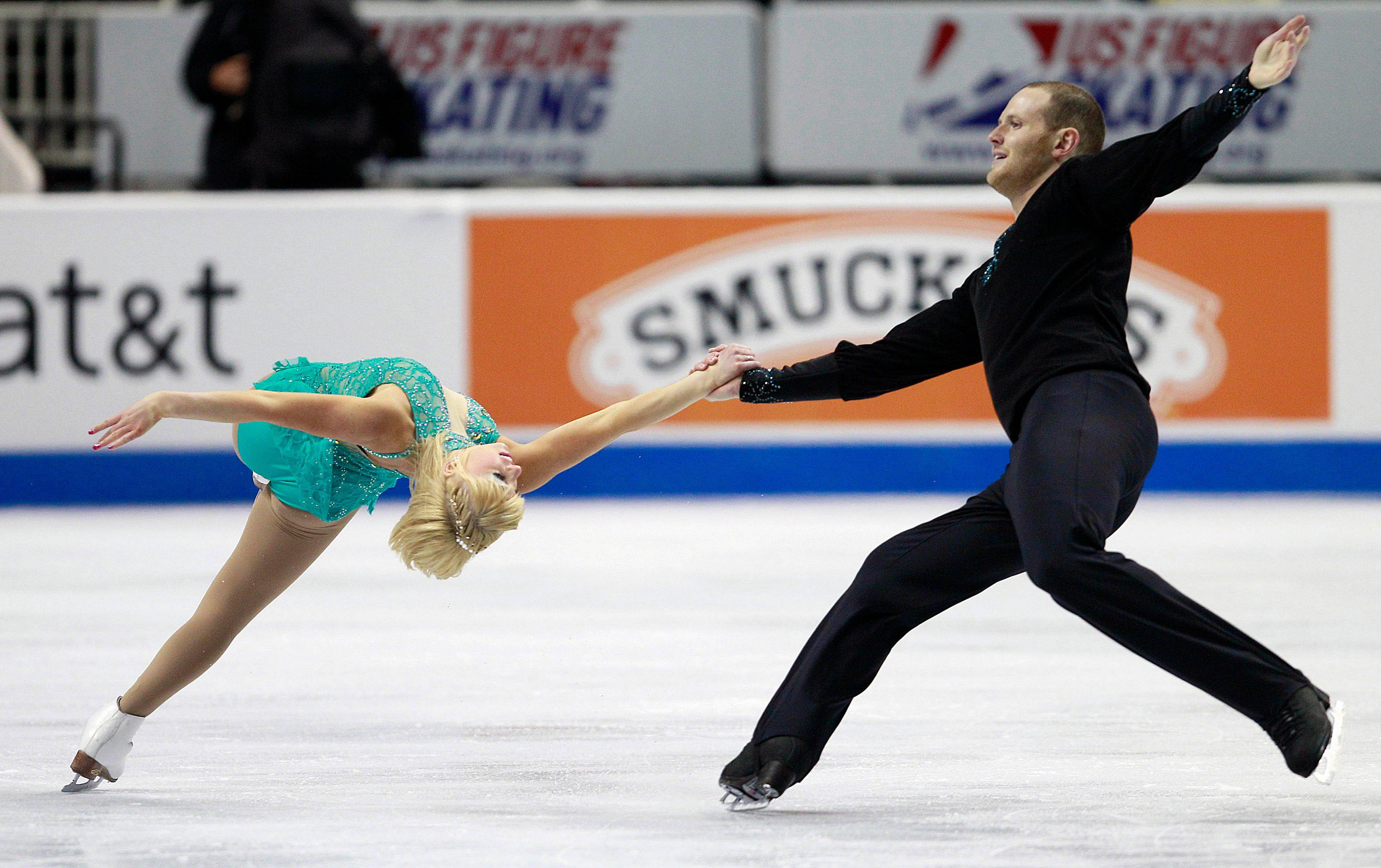 Caydee Denney and John Coughlin show their style at the U.S. Figure Skating Championships in San Jose, Calif., Sunday. They won the pairs competition with a near flawless routine.