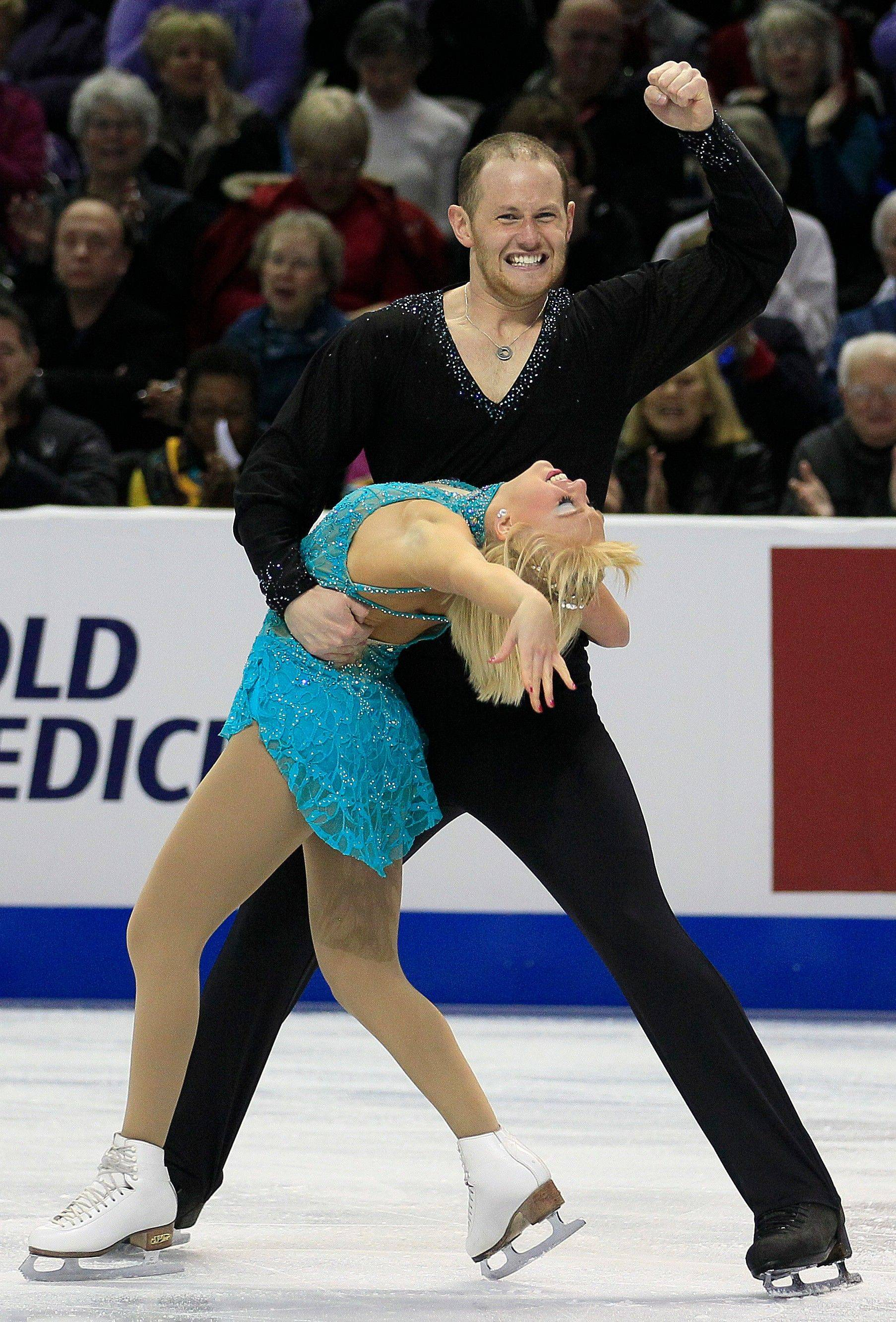 John Coughlin celebrates after he and Caydee Denney competed in the pairs free skate event at the U.S. Figure Skating Championships. They will compete at the Worlds in March.