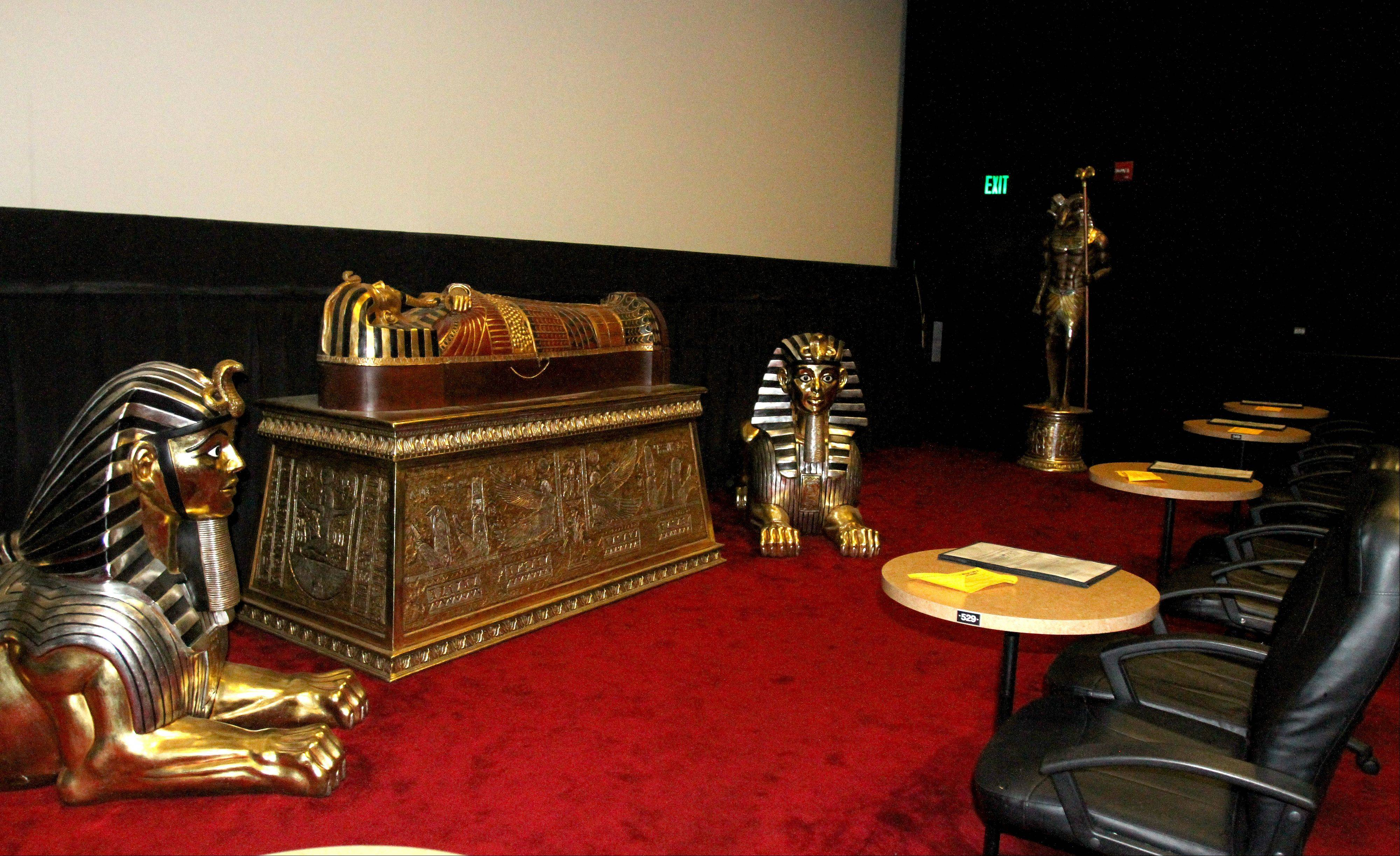 One theater has an Egyptian theme at the Hollywood Palms Cinema in Naperville.