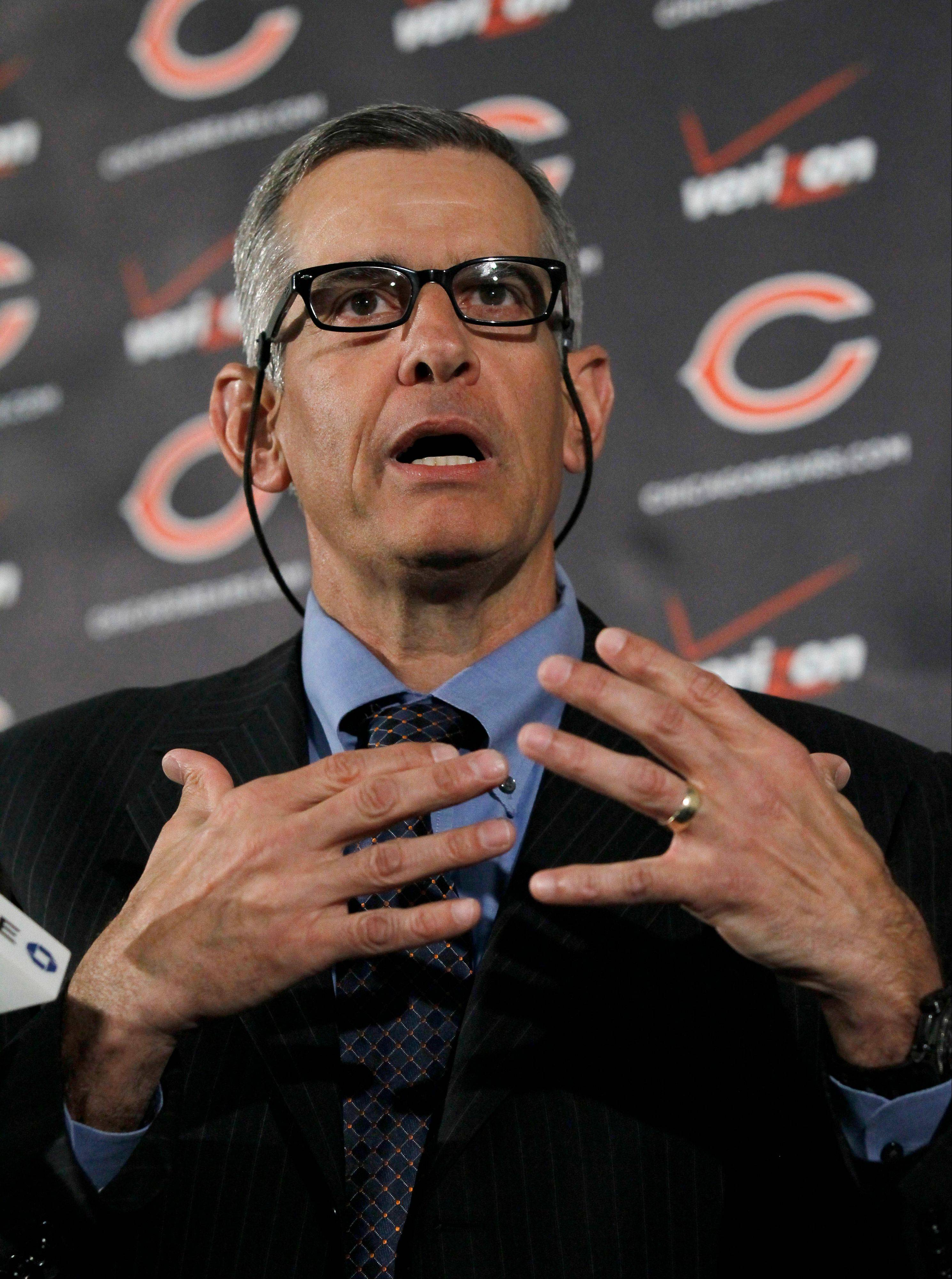 New Bears general manager Phil Emery talks to the media Monday at Halas Hall.