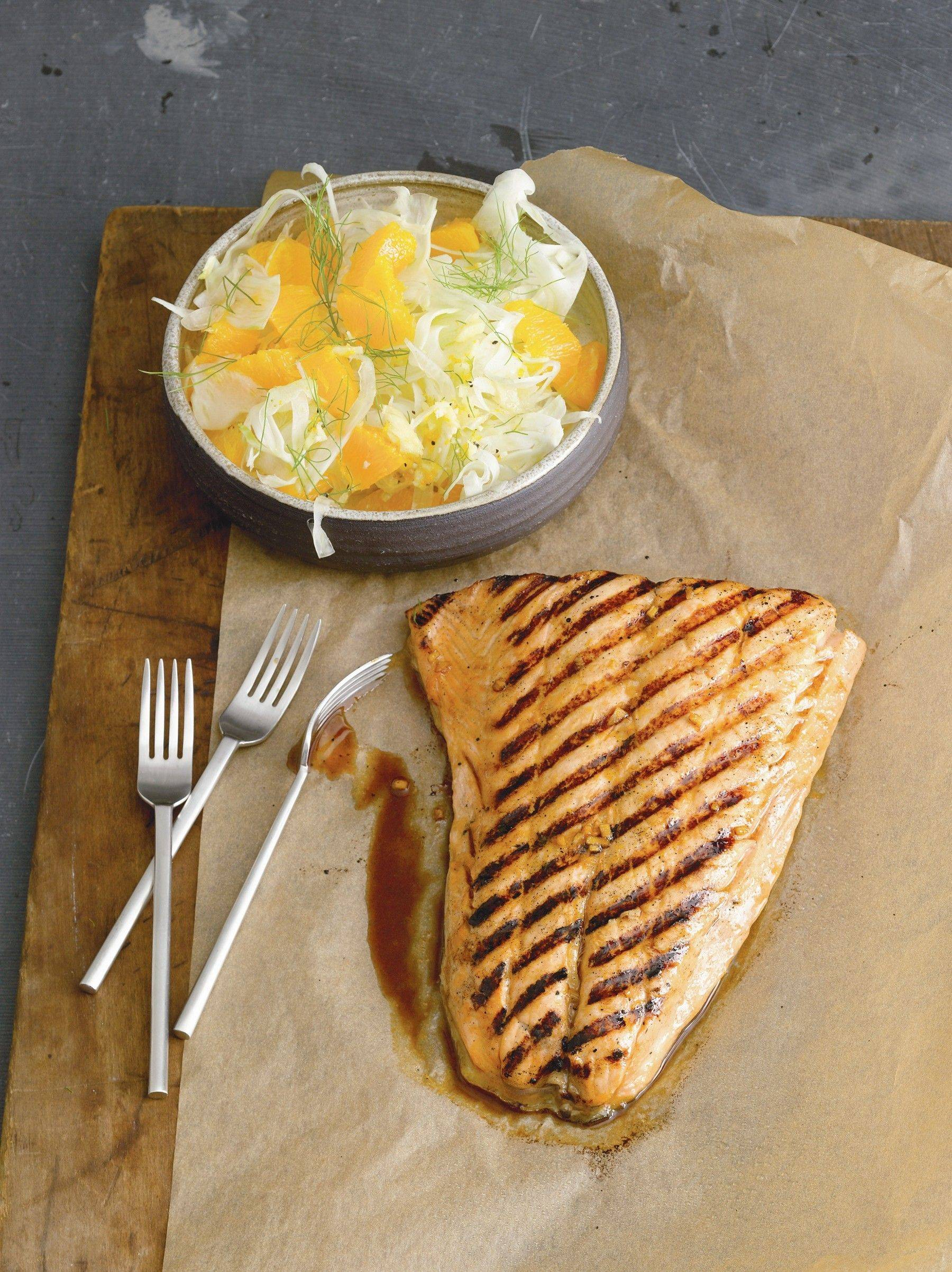 "This simple meal of Orange-Maple Salmon with Spicy Orange Fennel Slaw from ""Simple Asian Meals"" by Nina Simonds perks up the palate during the dark winter months."